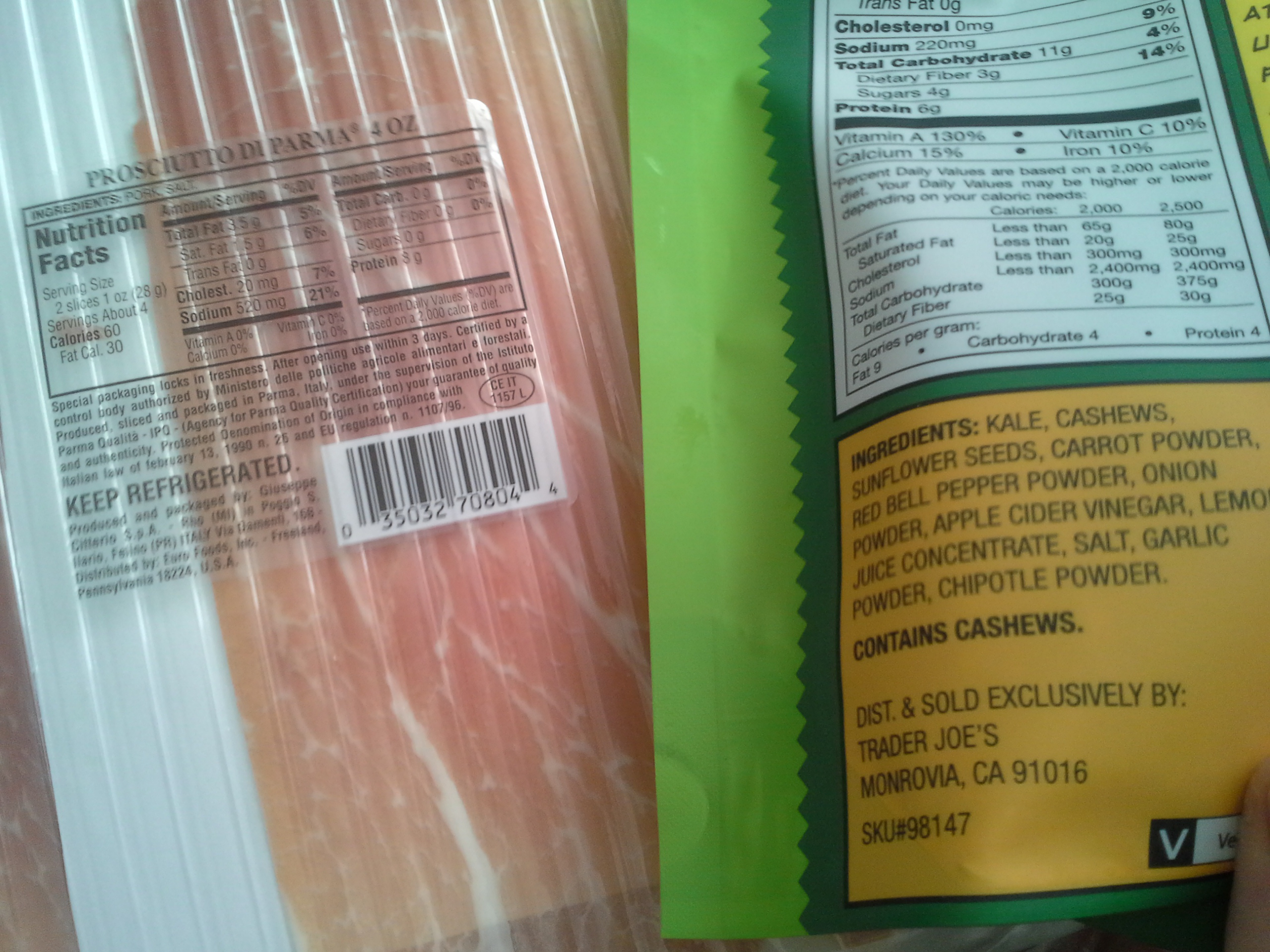 Lunch: 3:00 p.m.   4 oz. prosciutto, 2 oz. kale chips
