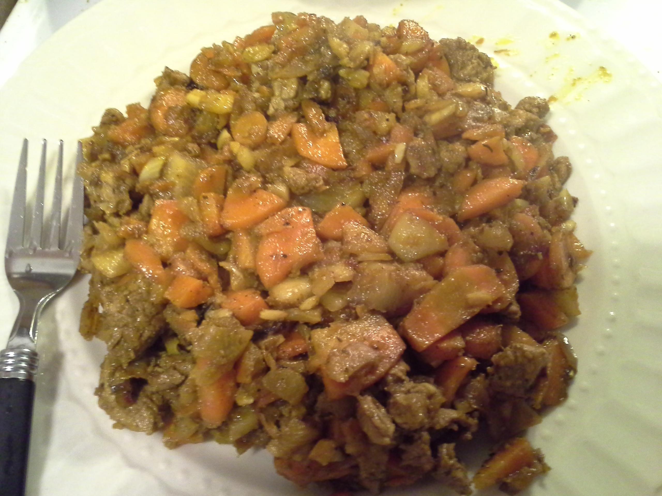 Dinner: 9:40 p.m.   1/2 pork loin, 2 carrots, 1/2 rutabaga, 1/2 yellow onion, 4 cloves garlic, 2 Tbsp. red palm oil, herbs & spices