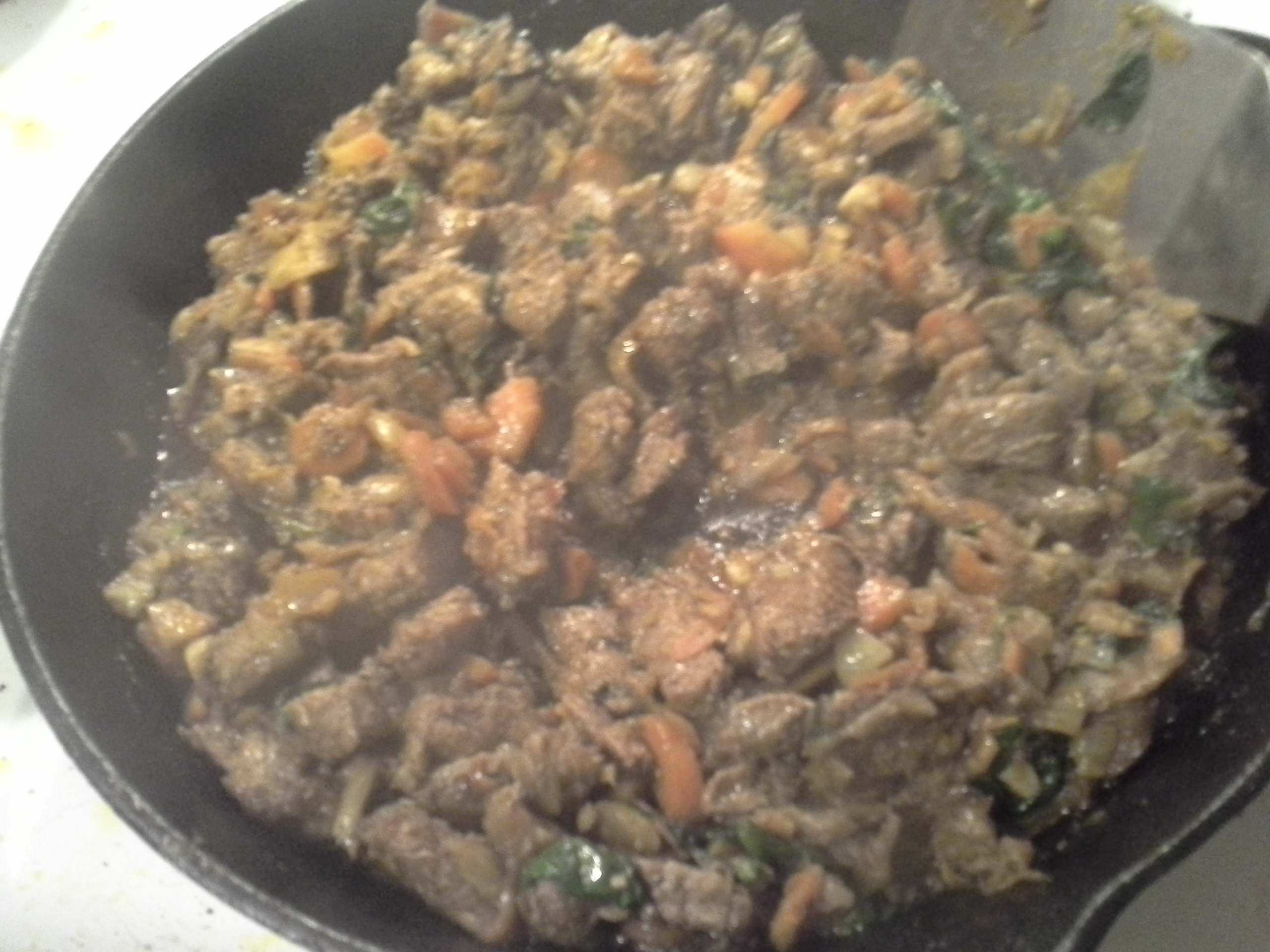 Dinner: 8:55 p.m. | 10 oz. steak, 1 carrot, 1/2 turnip, 1.25 oz. baby kale/spinach/chard mix, 2 Tbsp red palm oil, herbs & spices