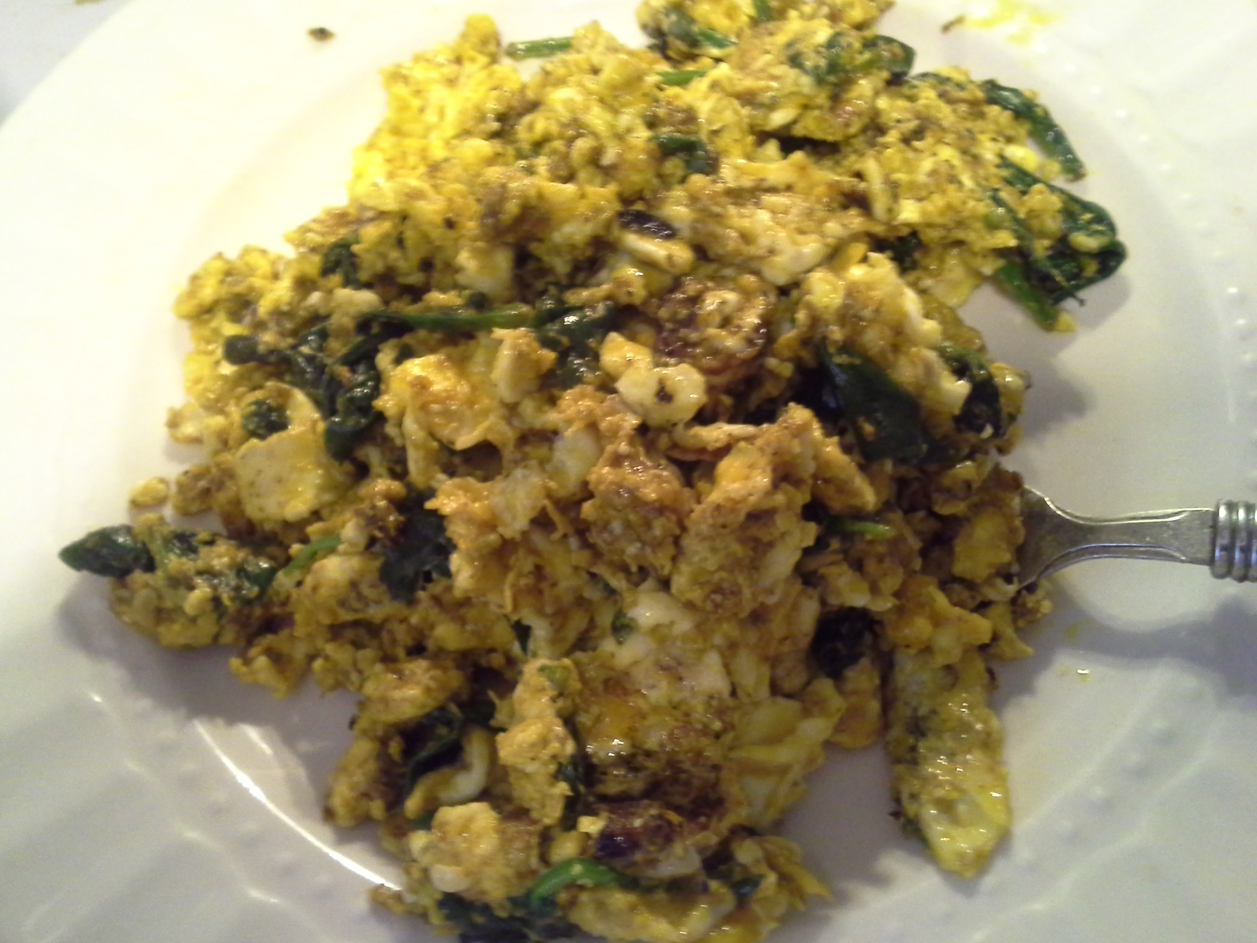 Lunch: 2:55 p.m. | 4 eggs, 2 oz. baby spinach, 2 Tbsp. red palm oil, herbs & spices
