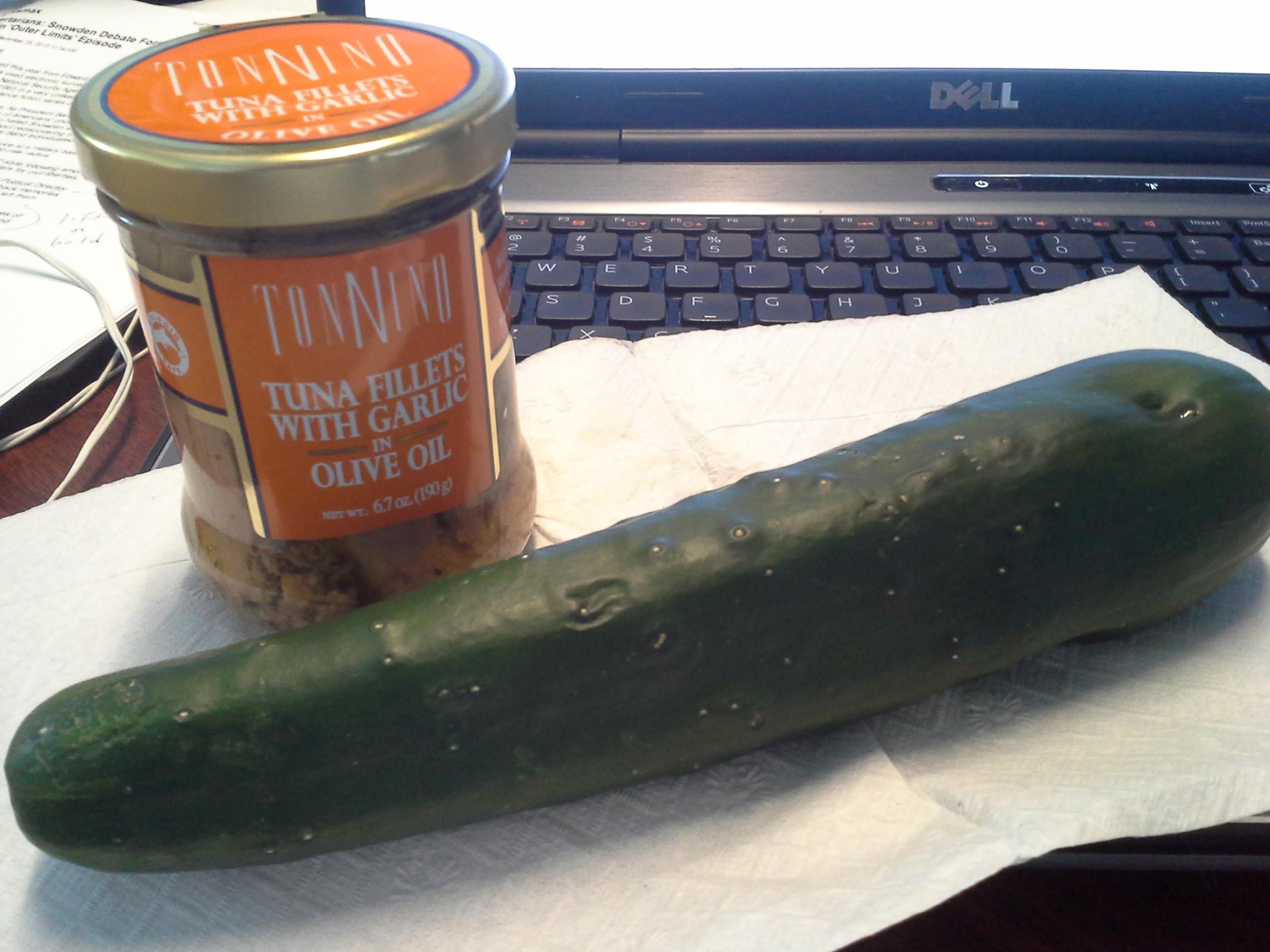 Lunch: 2:25 p.m. | 6.7 oz. tuna filets with garlic in olive oil, 1 cucumber
