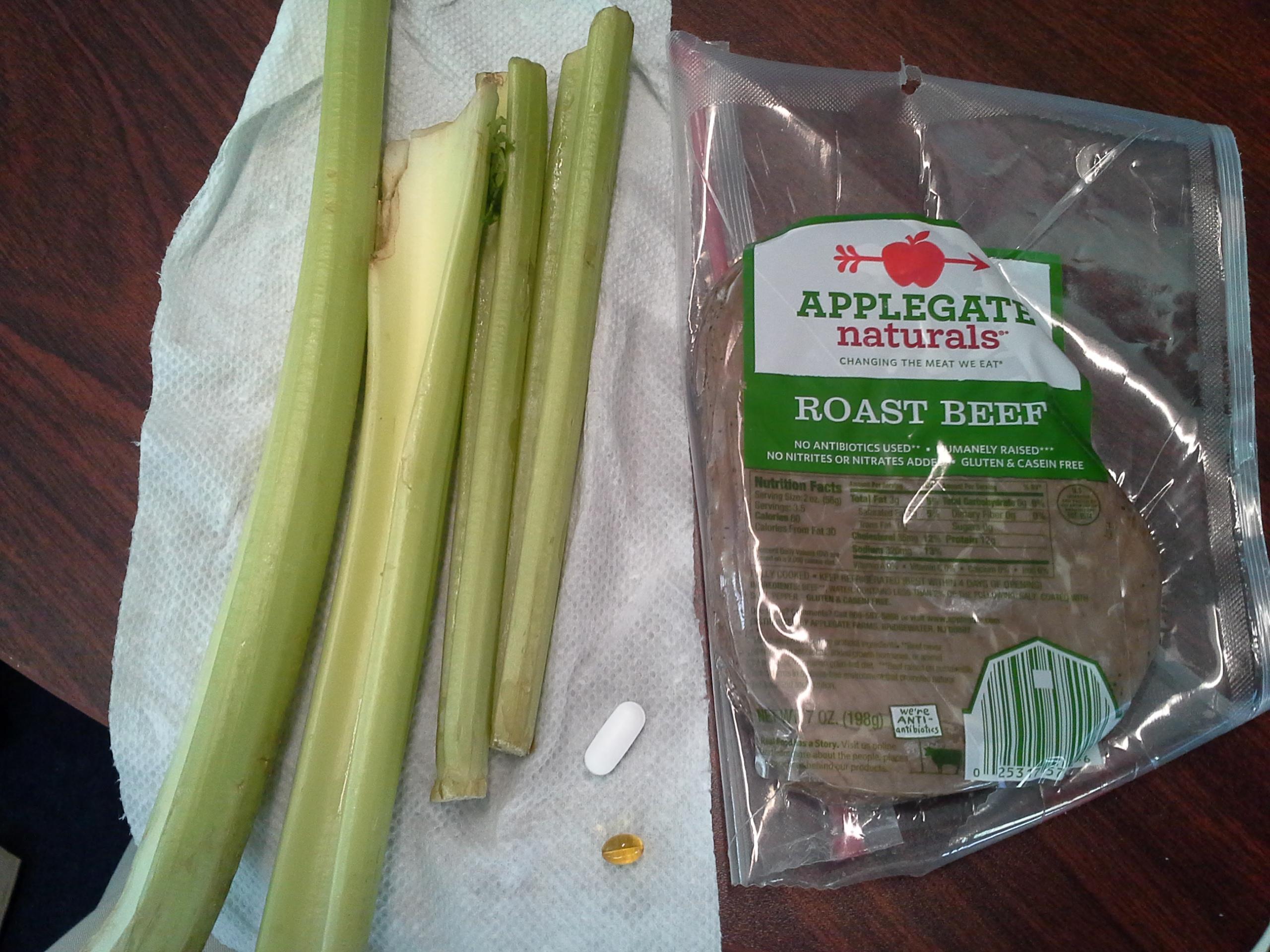 Lunch: 4:20 p.m. | 7 oz. roast beef, 4 stalks celery, 5,000 IU Vitamin D capsule, Calcium/Magnesium/Zinc caplet