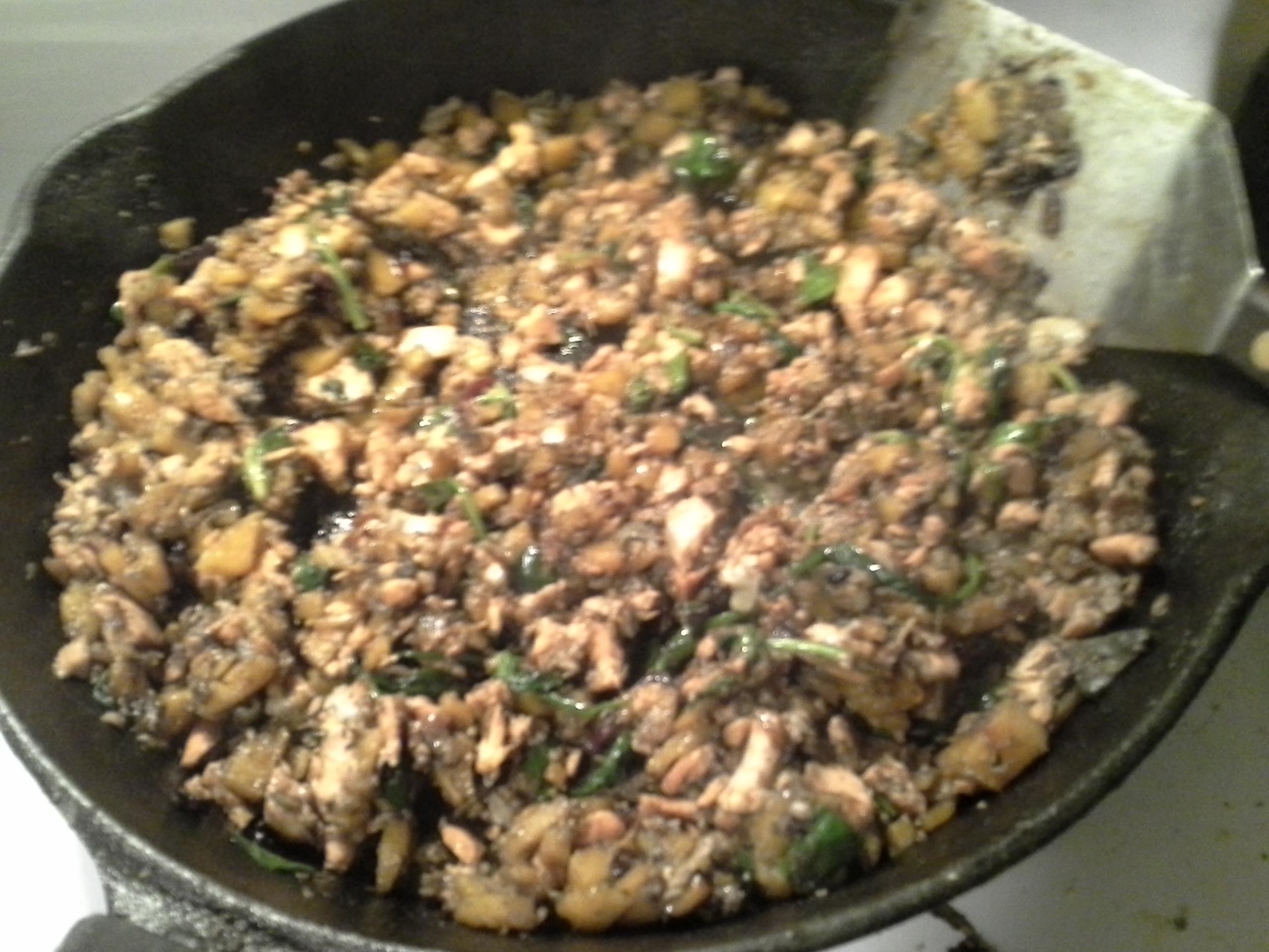 Dinner: 8:35 p.m.   8 oz. salmon, 1/4 butternut squash, 1/2 oz. baby kale/spinach/chard/beet greens mix, 1/2 sweet onion, 4 cloves garlic, 2 Tbsp. coconut oil, herbs & spices