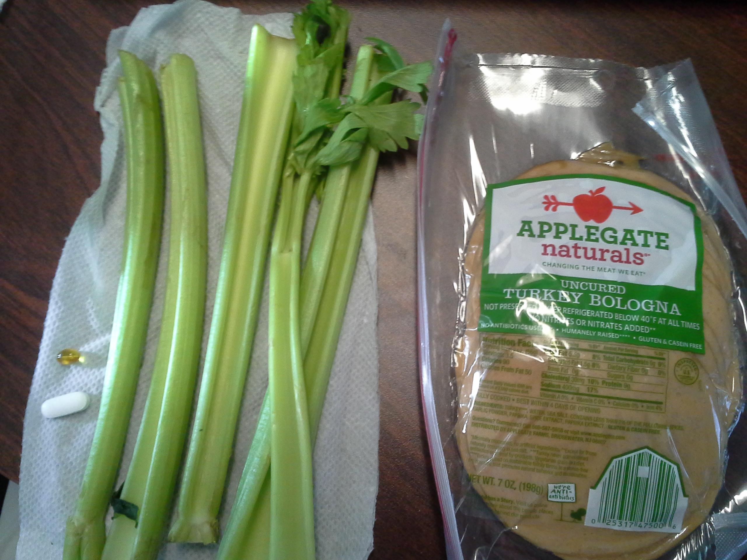 Lunch: 3:30 p.m. | 7 oz. turkey bologna, 5 stalks celery, 5,000 IU Vitamin D capsule, Calcium/Magnesium/Zinc caplet