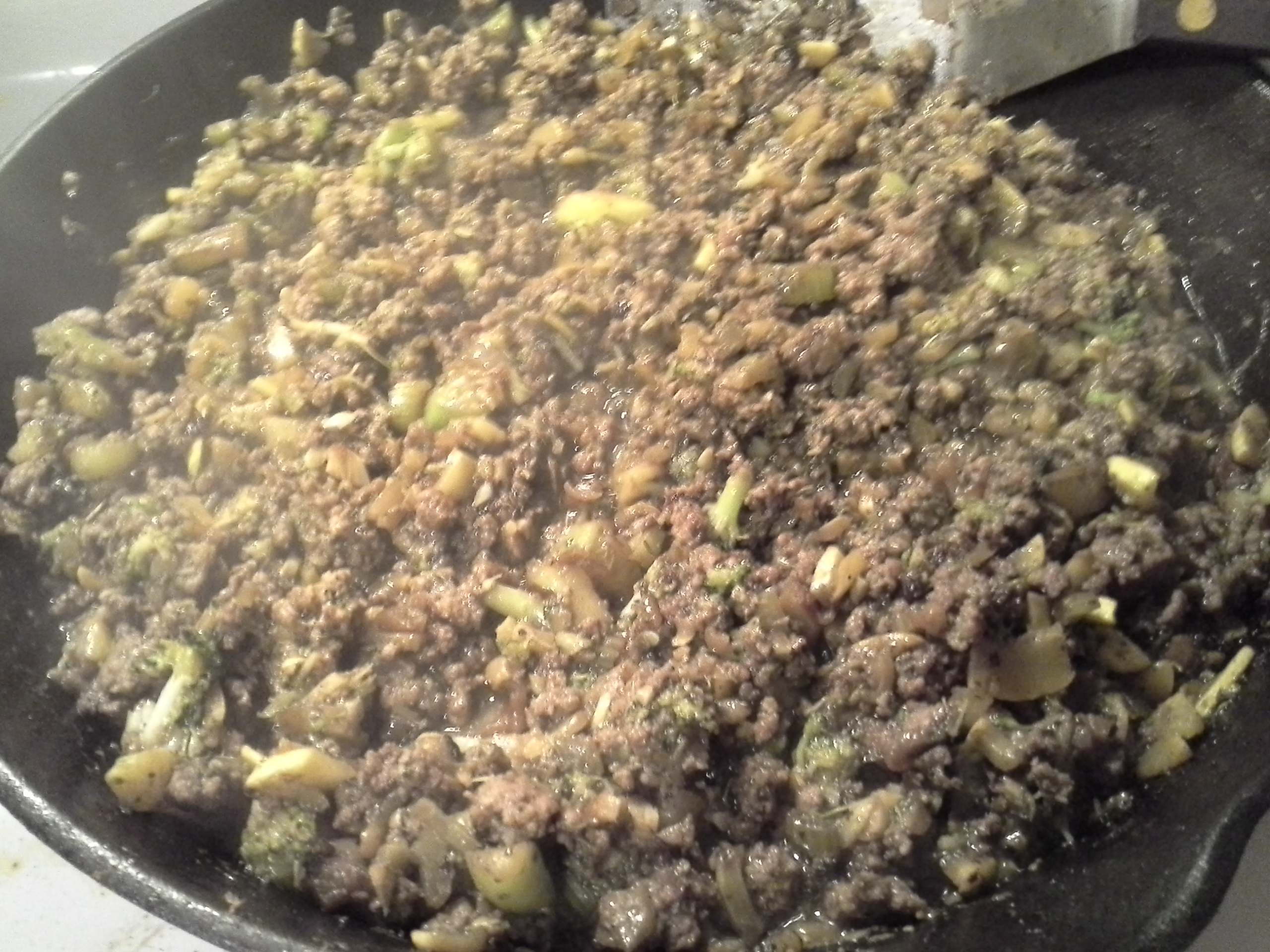 Dinner: 8:45 p.m. | 8 oz. ground beef, 1/6 bunch broccoli, 1 1/2 stalks celery, 1/2 yellow squash, 1/2 sweet onion, 4 cloves garlic, 2 Tbsp. coconut oil, herbs & spices
