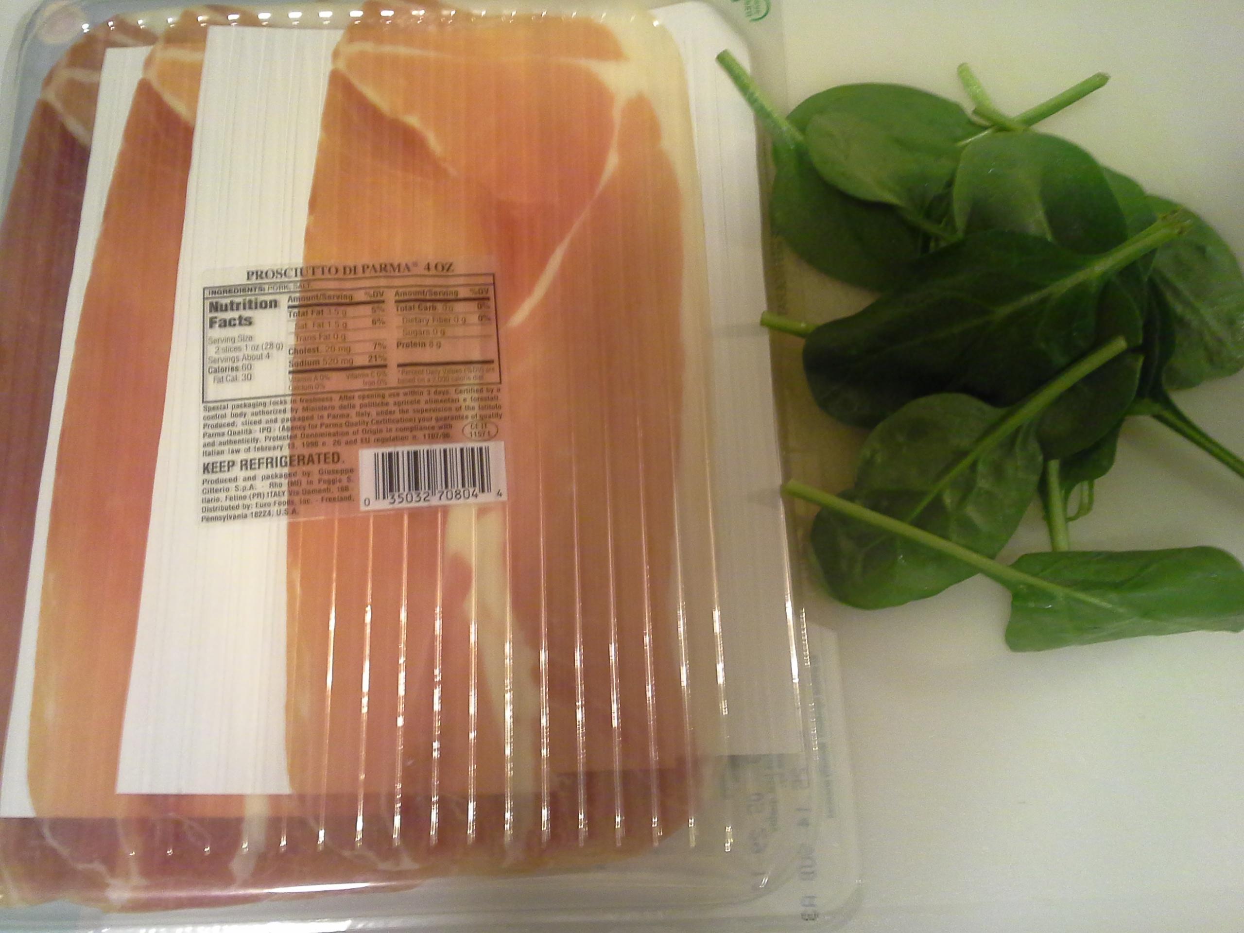 Dinner: 10:10 p.m. | 4 oz. prosciutto, .25 oz. spinach