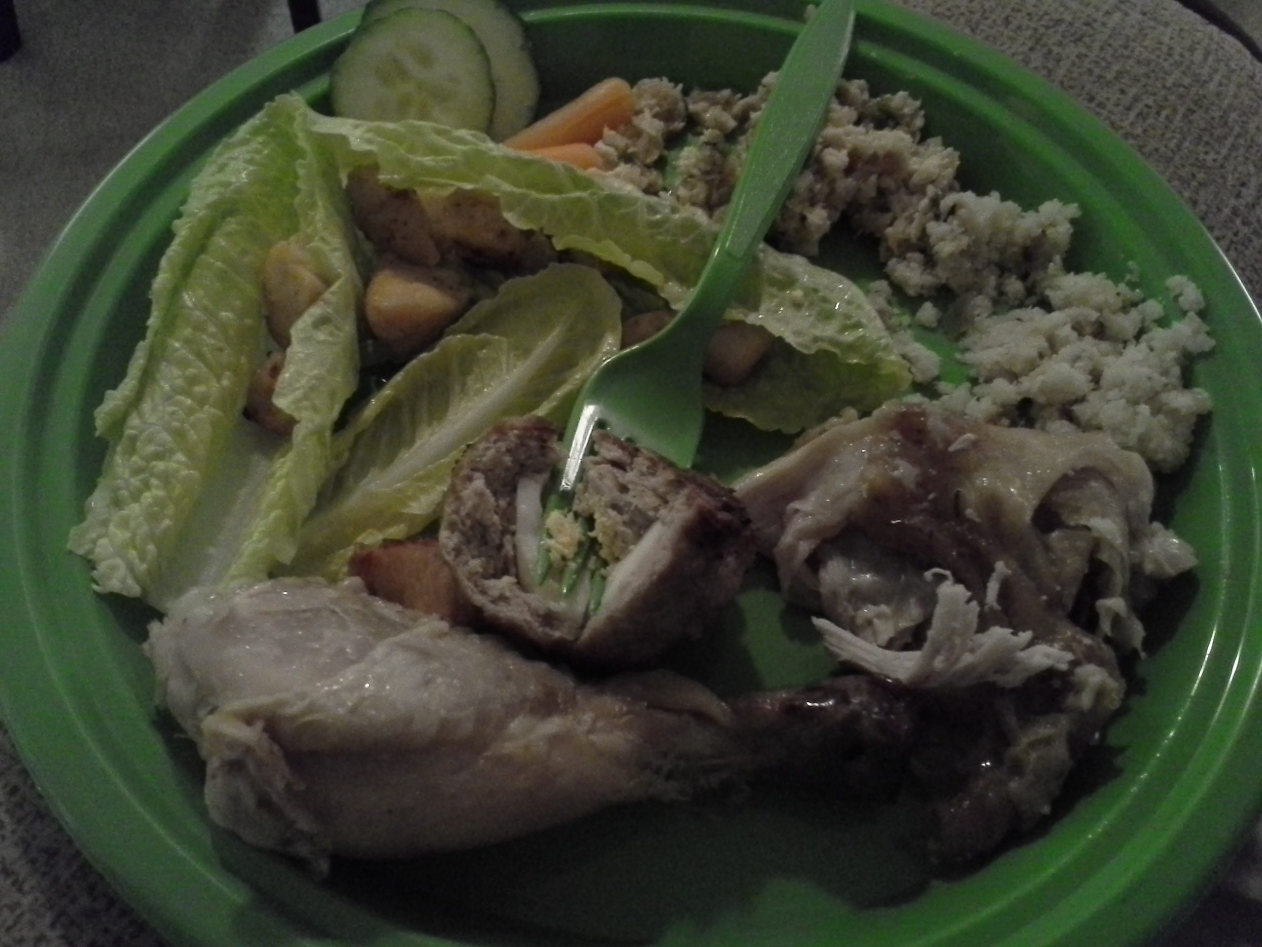 Dinner: 8:30 p.m. | Chicken, turkey sausage, egg, shrimp, carrots, cucumbers, celery, spinach, artichokes, olive oil, almonds, etc.