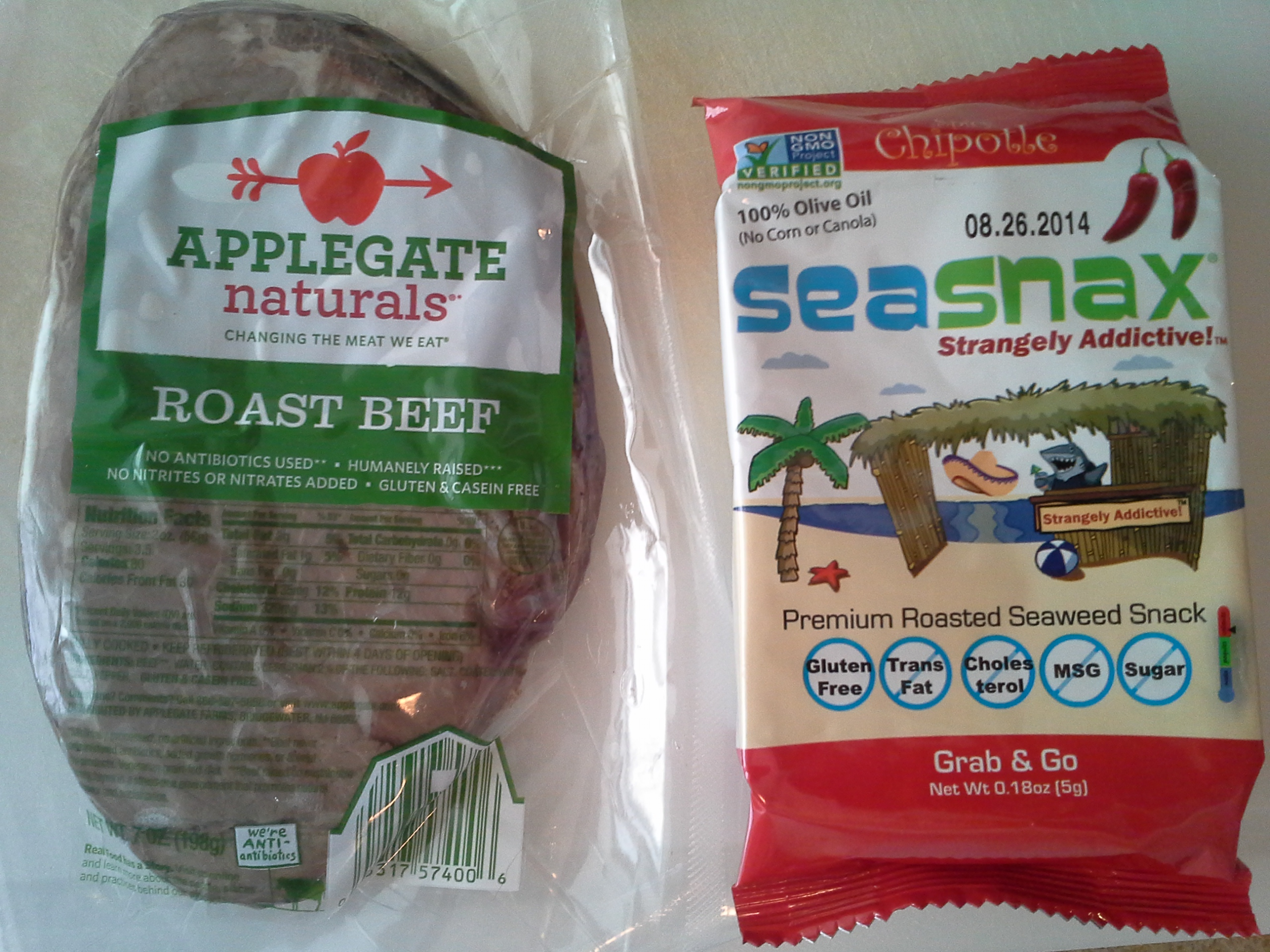 Lunch: 3:20 p.m. | 7 oz. roast beef, .18 oz. chipotle SeaSnax seaweed