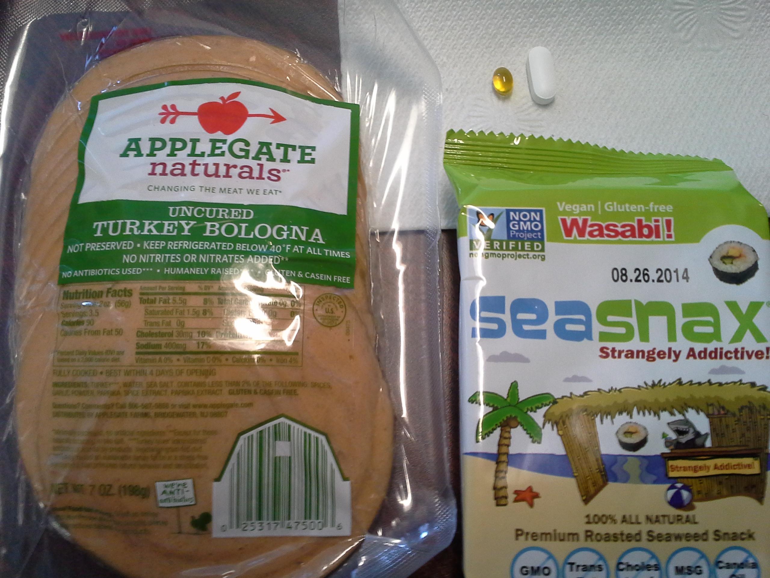 Lunch: 2:45 p.m. | 7 oz. turkey bologna, .18 oz. wasabi SeaSnax seaweed, 5,000 IU Vitamin D capsule, Calcium/Magnesium/Zinc caplet