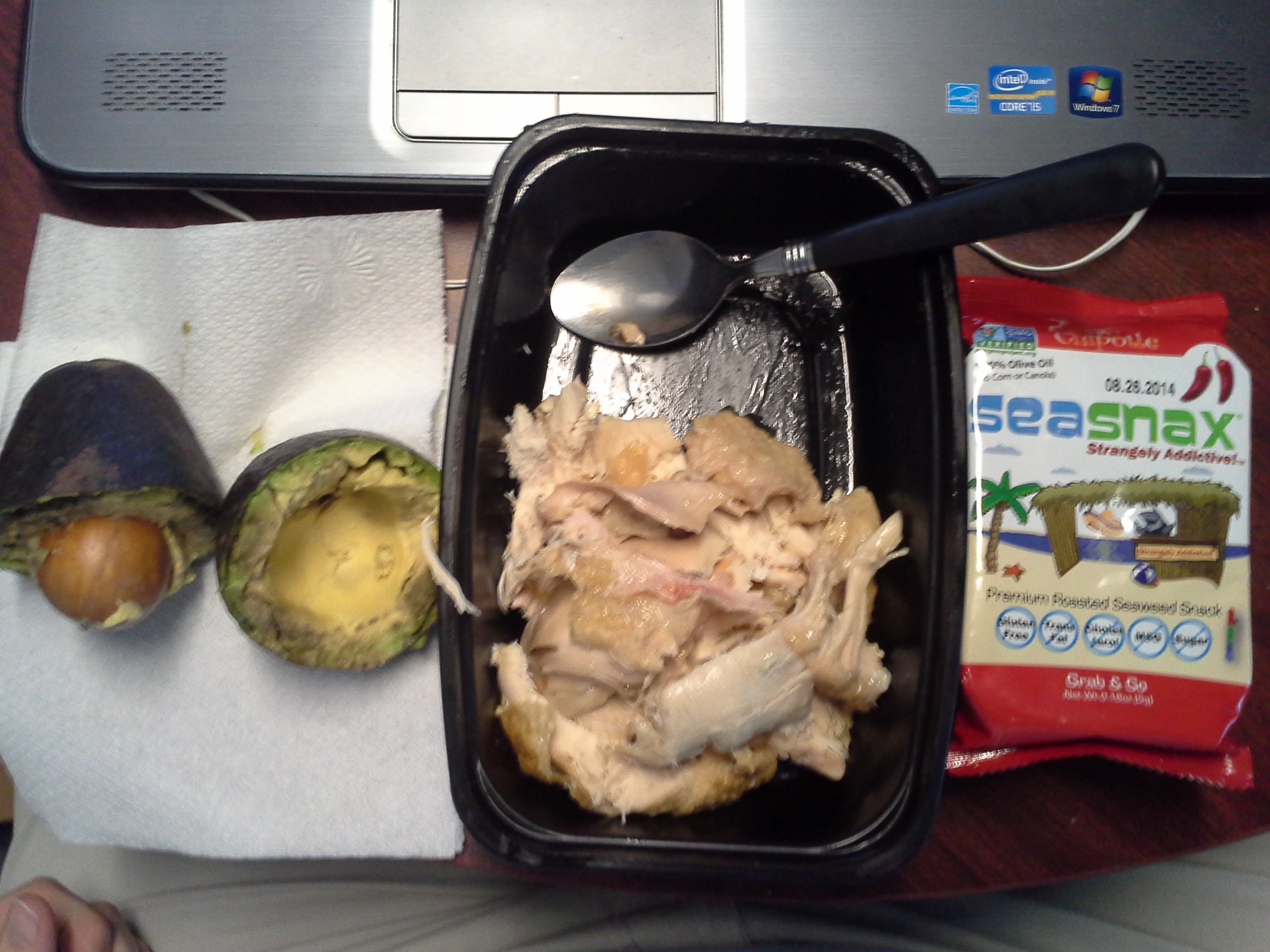 Lunch: 3:30 p.m. | Leftover rotisserie chicken, 1 avocado, .18 oz. chipotle SeaSnax seaweed