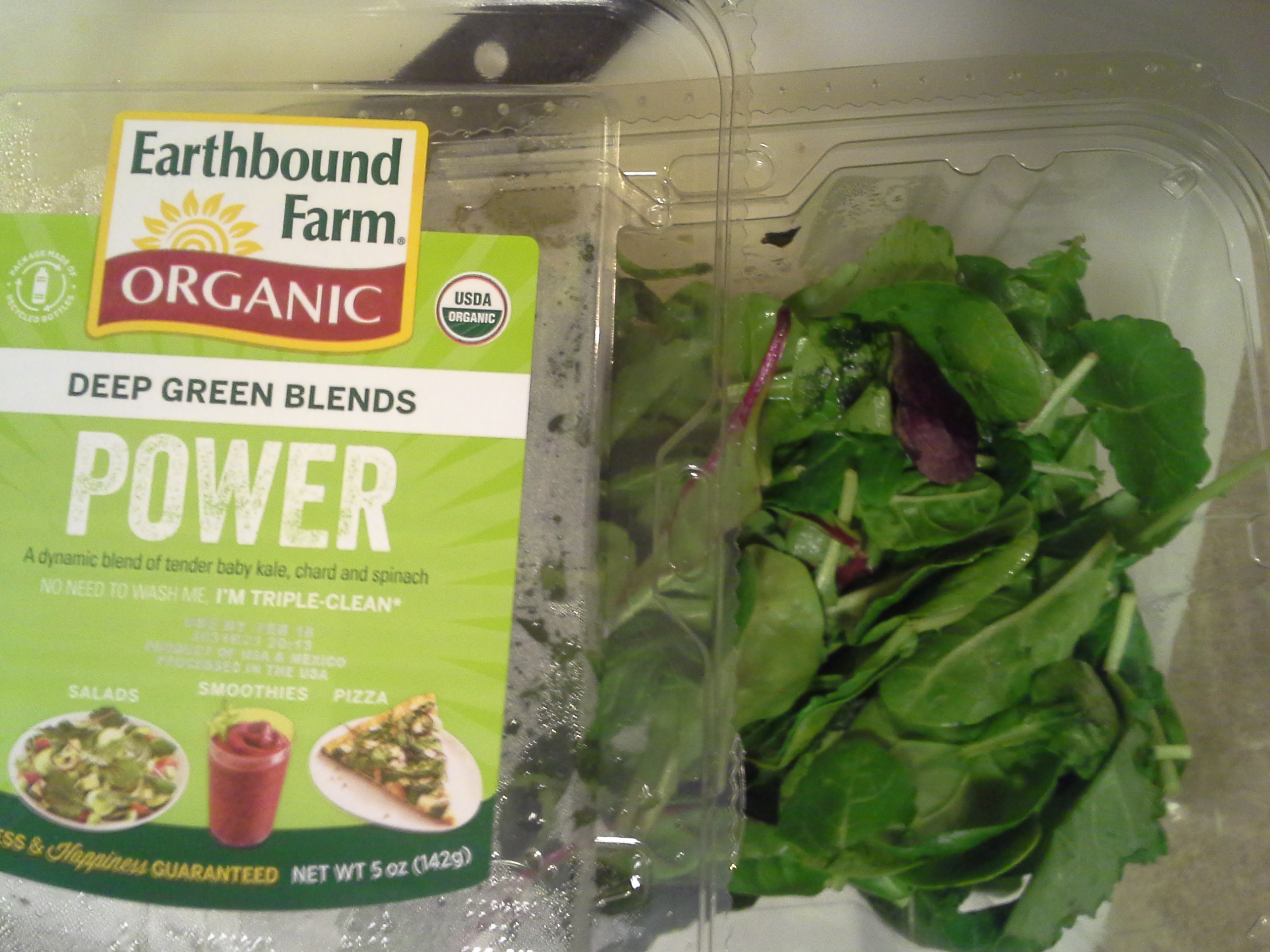 Add about 2 oz. of greens (in this case, baby kale/chard/spinach)