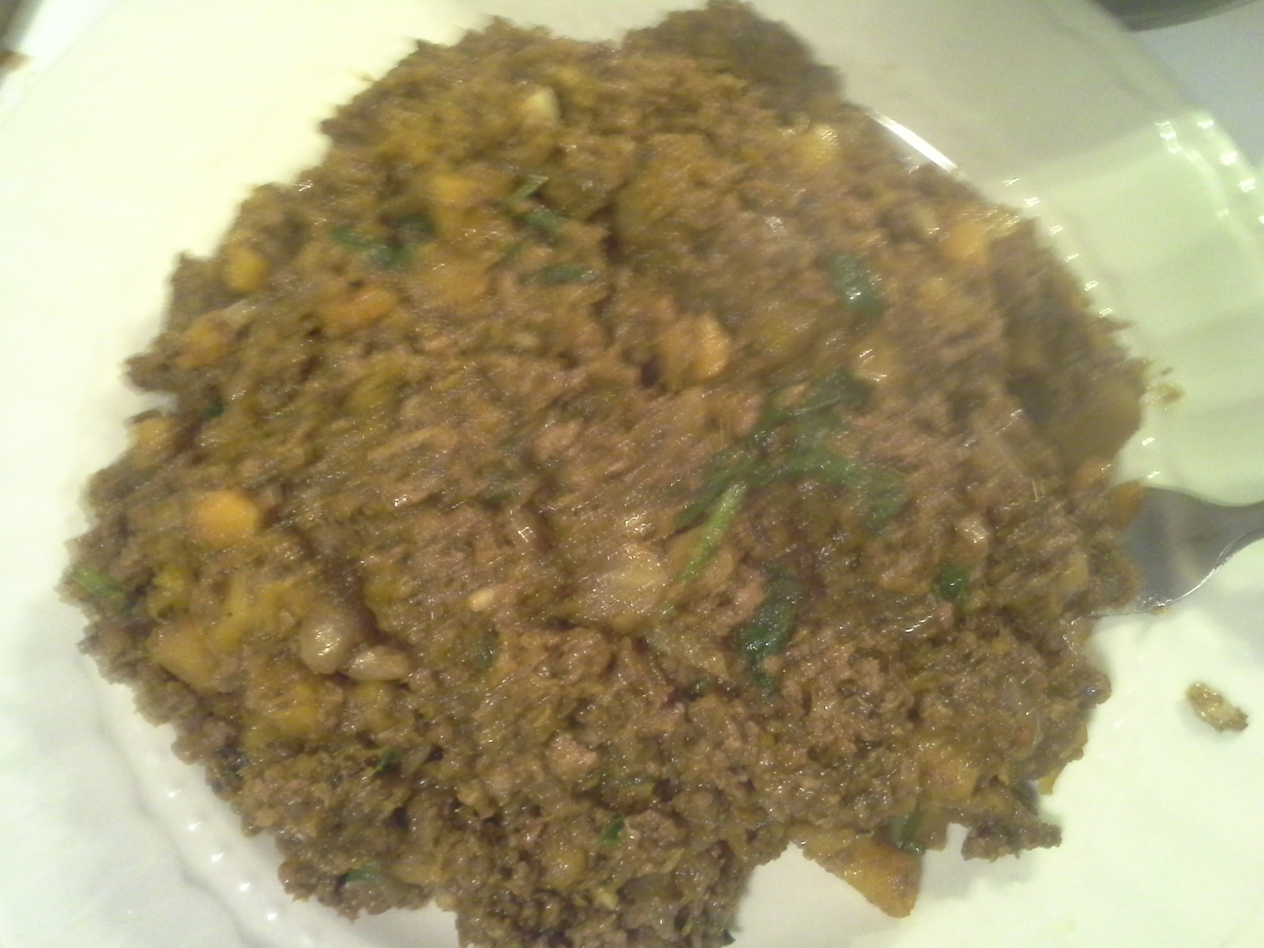 Dinner: 9:05 p.m. | 8 oz. beef, 1/4 butternut squash, 1 oz. baby kale/chard/spinach mix, 1/2 sweet onion, 4 cloves garlic, herbs & spices