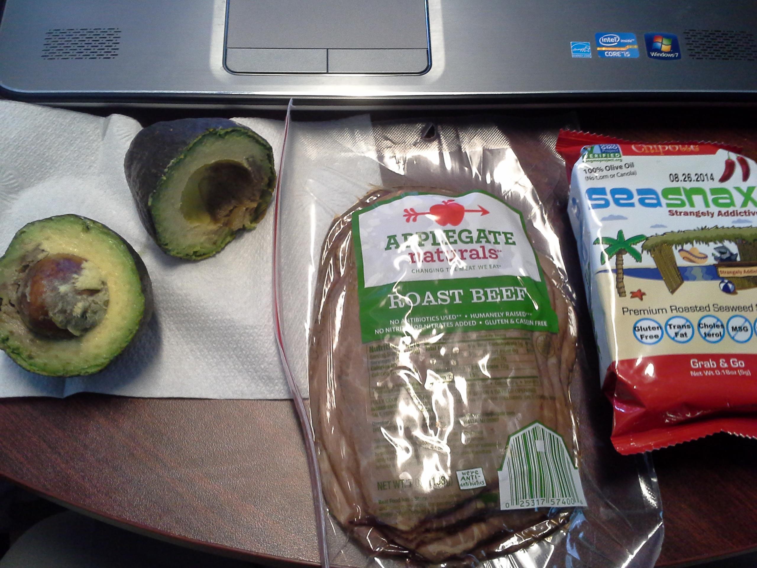 Lunch: 1:35 p.m. | 7 oz. roast beef, 1 avocado, .18 oz. chipotle SeaSnax seaweed, 5,000 IU Vitamin D capsule, Calcium/Magnesium/Zinc caplet