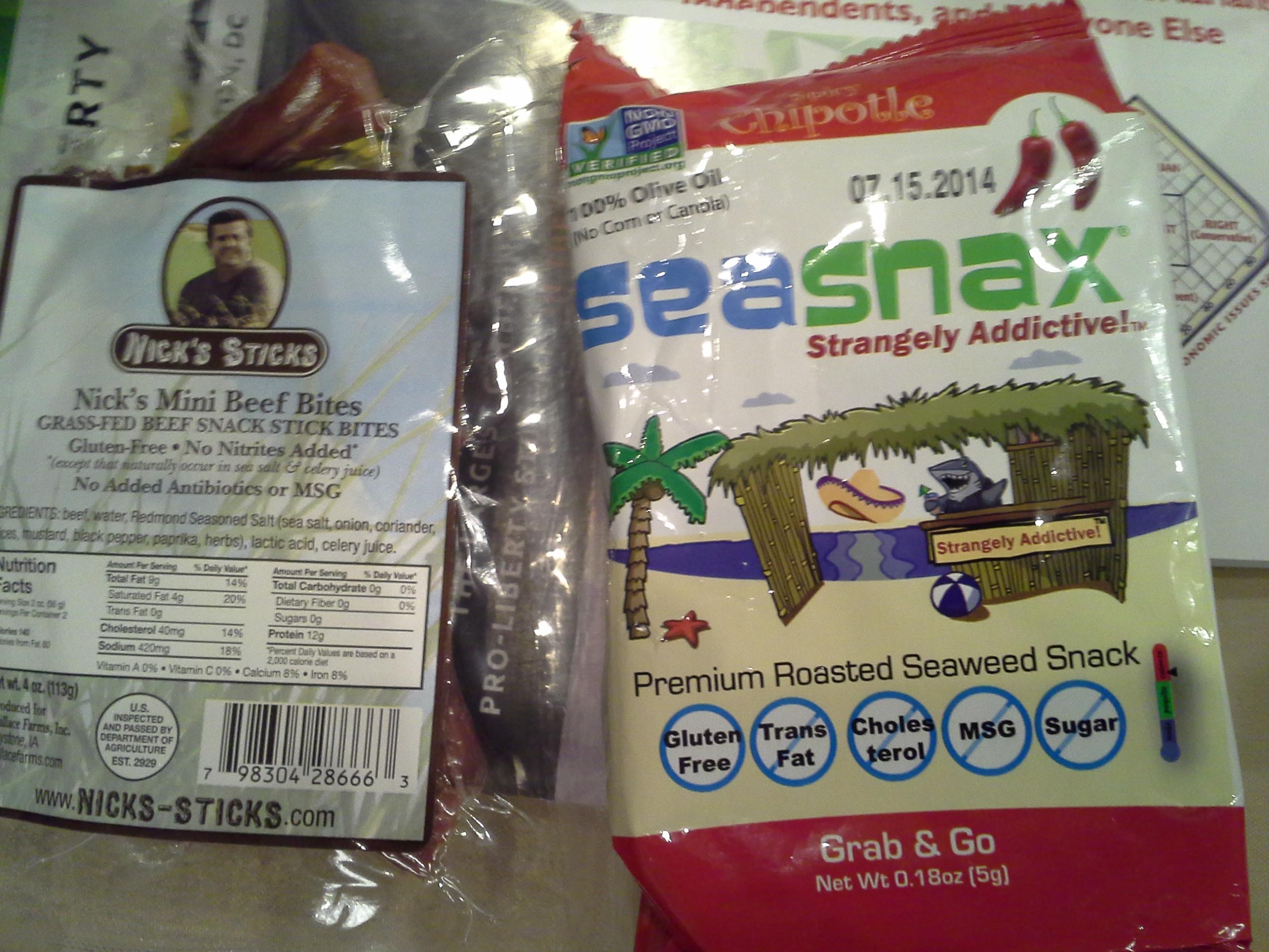 Snack: 7:15 p.m. | 4 oz. beef sticks, .18 oz. chipotle SeaSnax seaweed