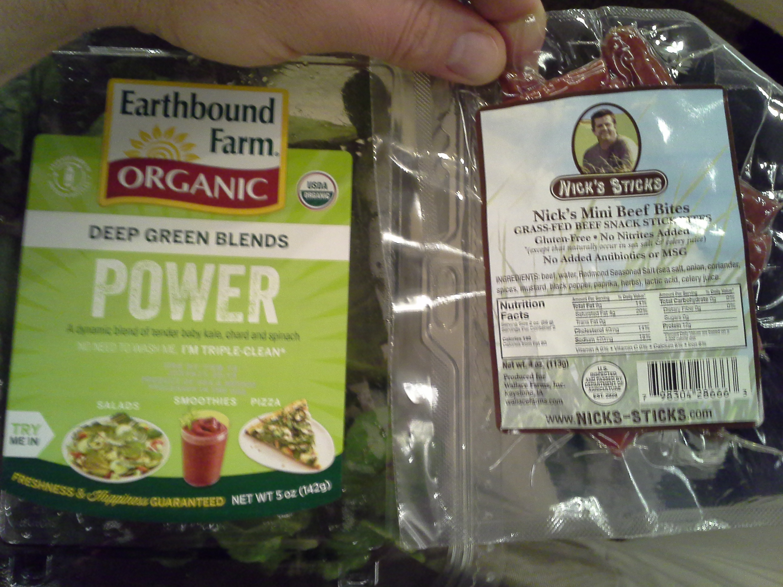 Lunch: 4:15 p.m. | 4 oz. beef sticks, 1.5 oz. baby kale/chard/spinach mix