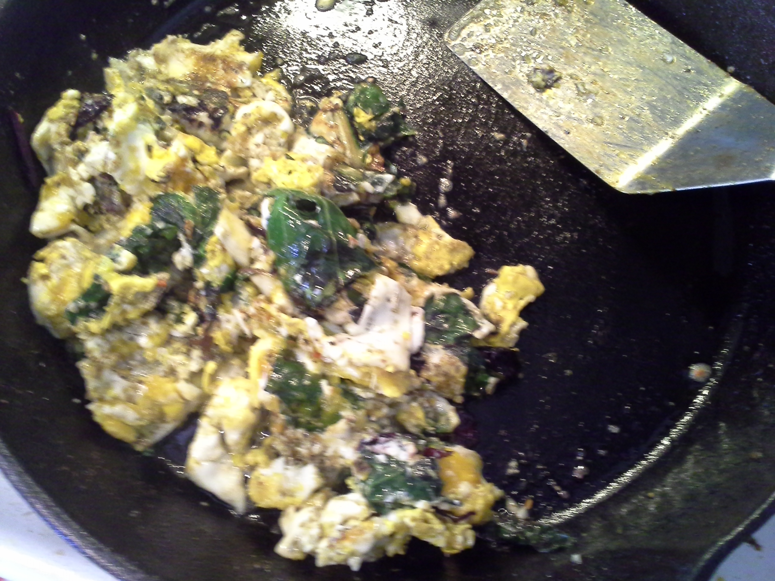 Breakfast: 9:25 a.m. | 4 eggs, 2 oz. greens mix, 2 Tbsp. coconut oil, herbs & spices