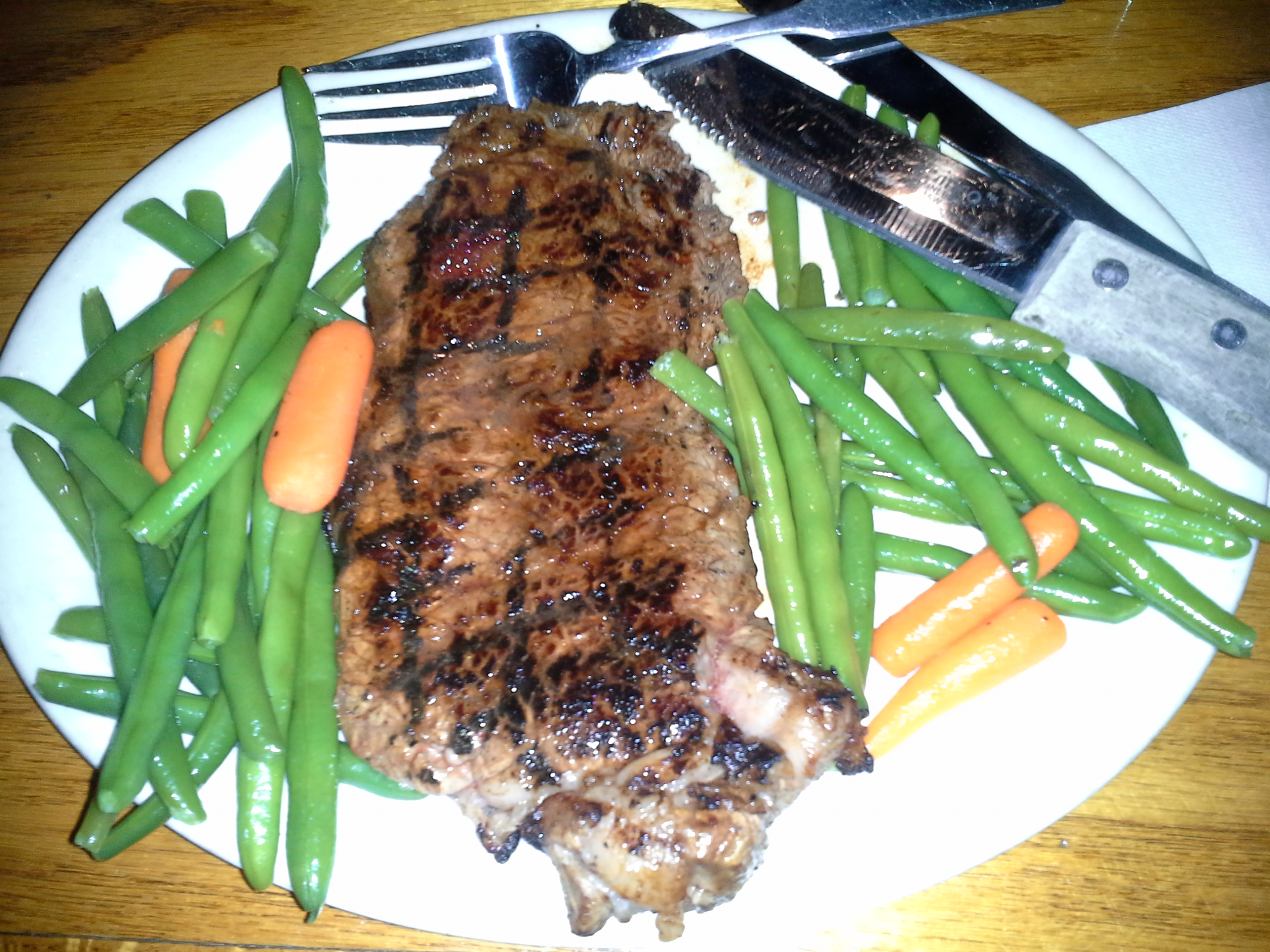 Dinner: 8:10 p.m. | 10 oz. steak, green beans, carrots