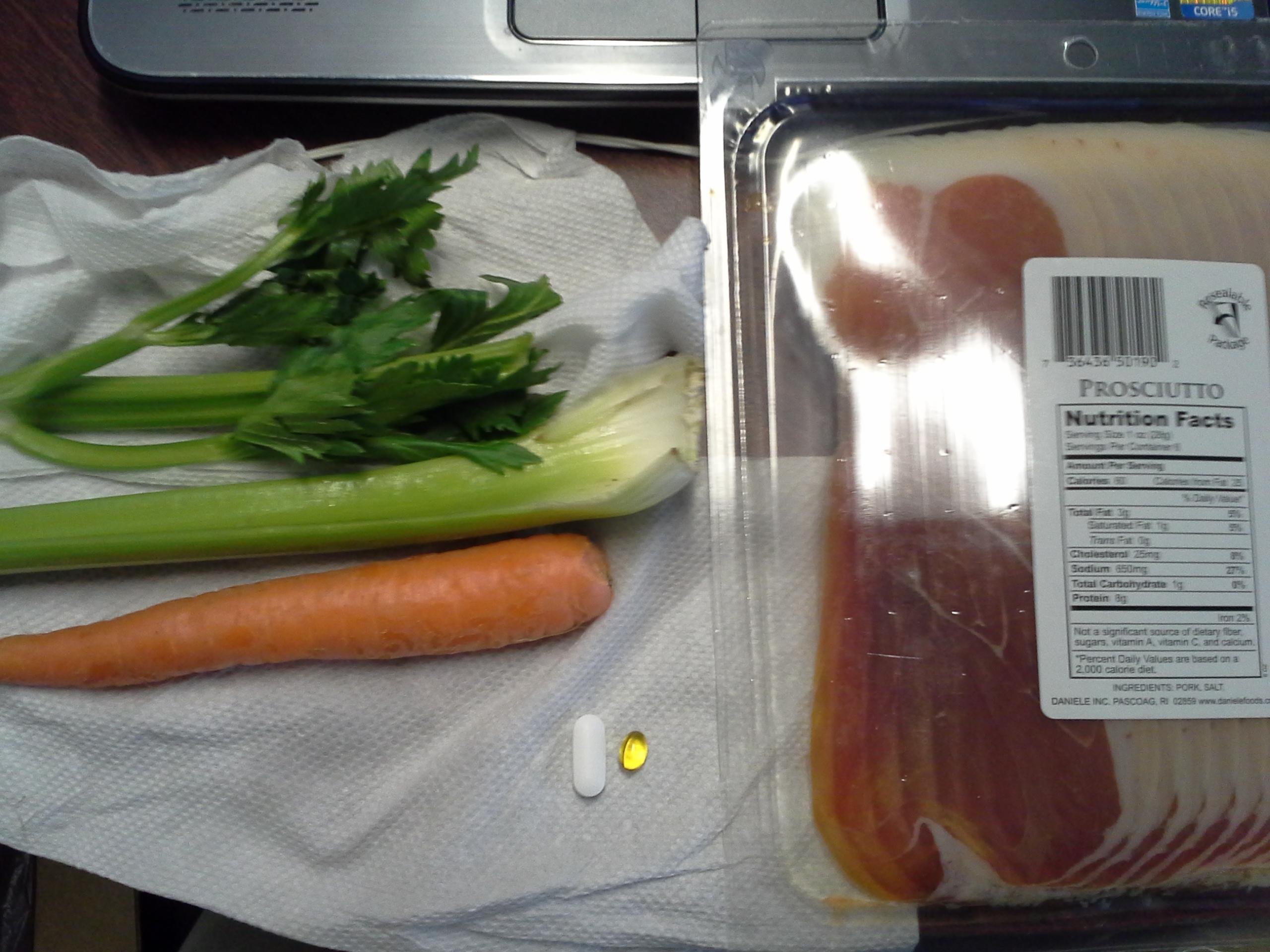 Lunch: 4:00 p.m. | 6 oz. prosciutto, 1 carrot, 1 stalk celery, 5,000 IU Vitamin D capsule, Calcium/Magnesium/Zinc caplet