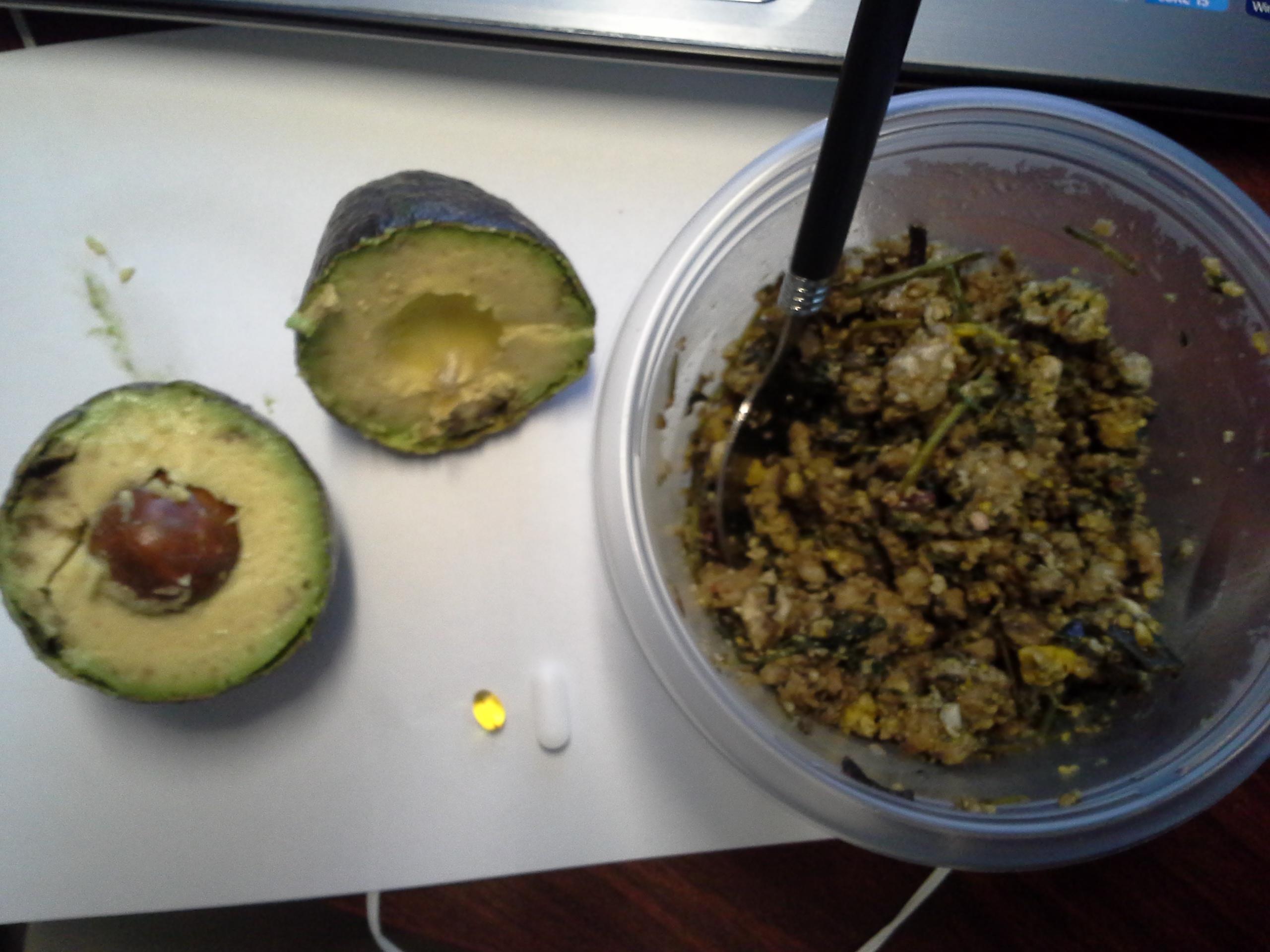 Lunch: 4:55 p.m. | 1 avocado, pork sausage, eggs, carrot greens, greens mix, coconut oil, herbs & spices, 5,000 IU Vitamin D capsule, Calcium/Magnesium/Zinc caplet