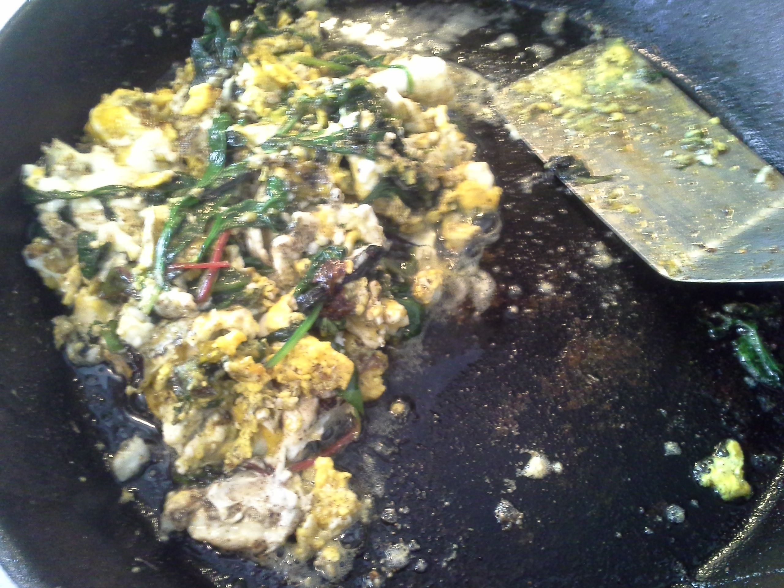 Breakfast: 11:10 a.m. | 4 eggs, greens mix, 2 Tbsp. coconut oil, herbs & spices