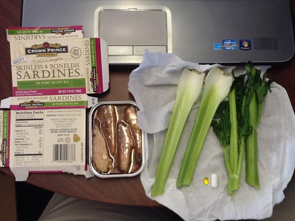 Lunch: 5:00 p.m. | 3.75 oz. sardines, 2 stalks celery, 5,000 IU Vitamin D capsule, Calcium/Magnesium/Zinc caplet