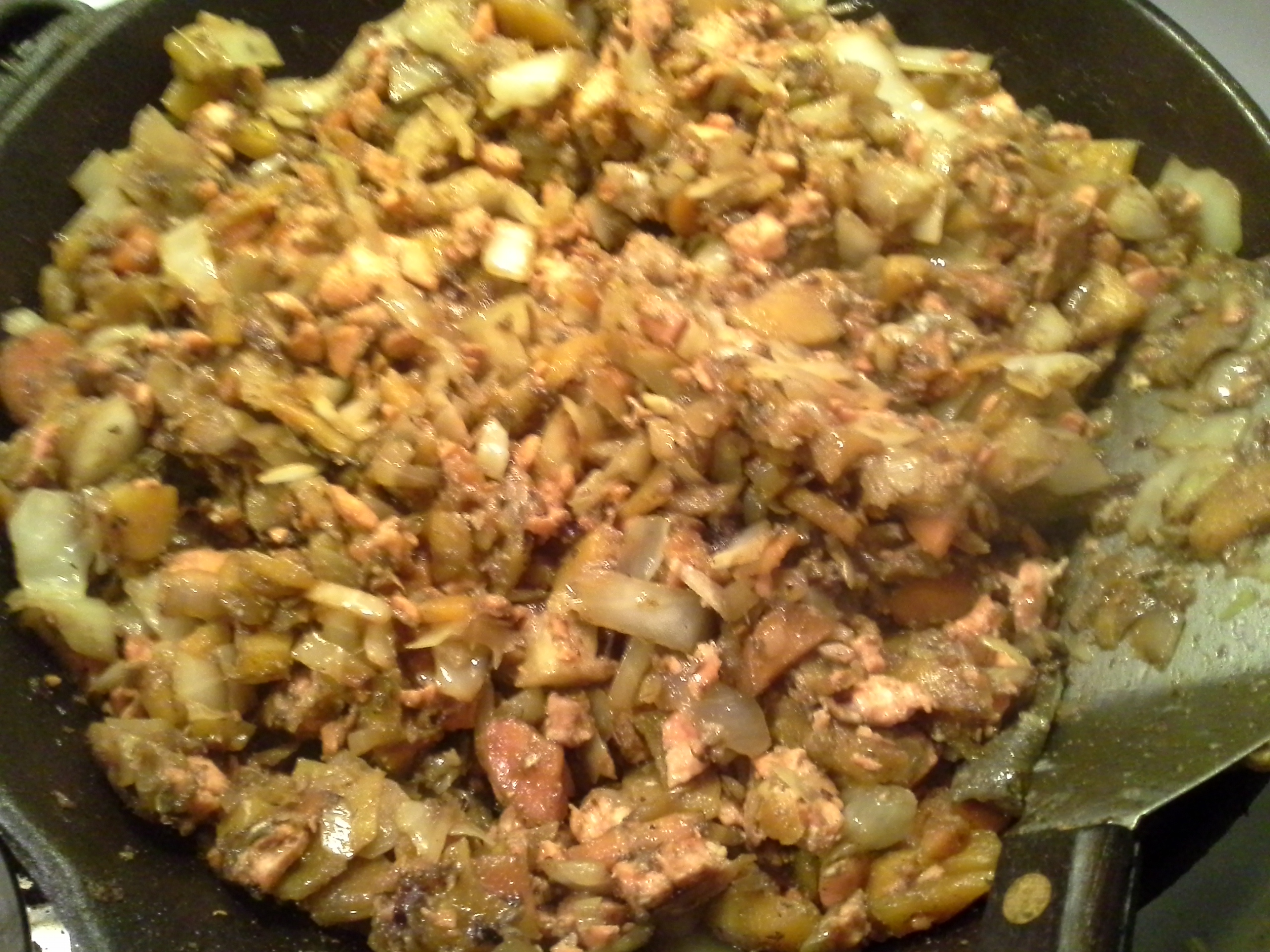 Dinner: 10:50 p.m. | 8 oz. salmon, 1 large carrot, 1/6 head cabbage, 1/2 sweet onion, 2 Tbsp. coconut oil, herbs & spices