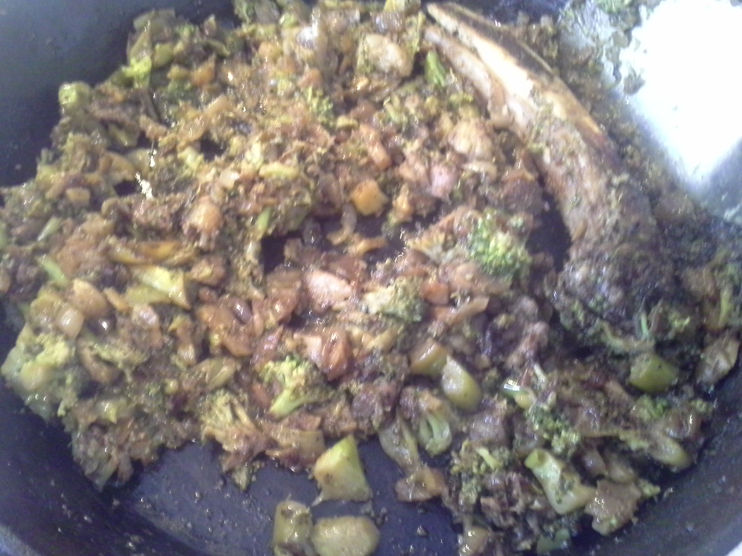 Breakfast: 11:10 a.m. | 5 oz. ribeye steak, 1/2 full head & stem of broccoli, 1/2 sweet onion, 2 Tbsp. coconut oil, herbs & spices