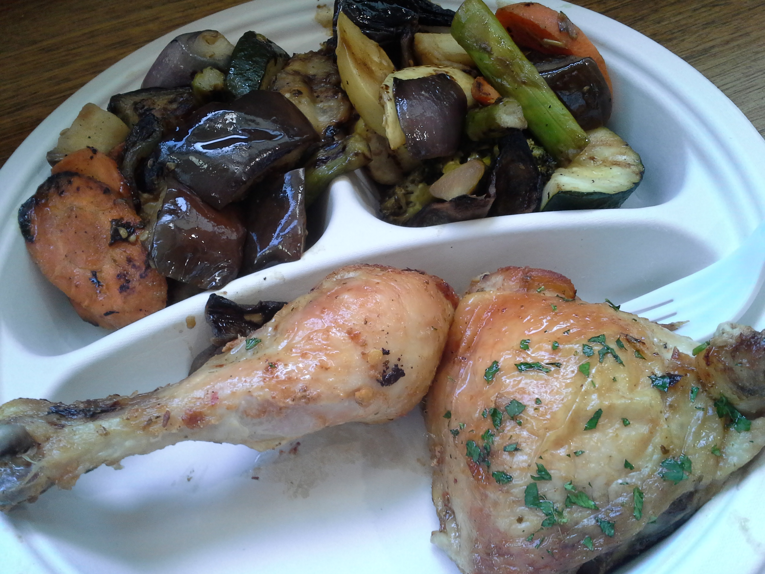 Lunch: 1:10 p.m. | Rotisserie chicken, carrots, eggplant, zucchini, yellow squash, onions