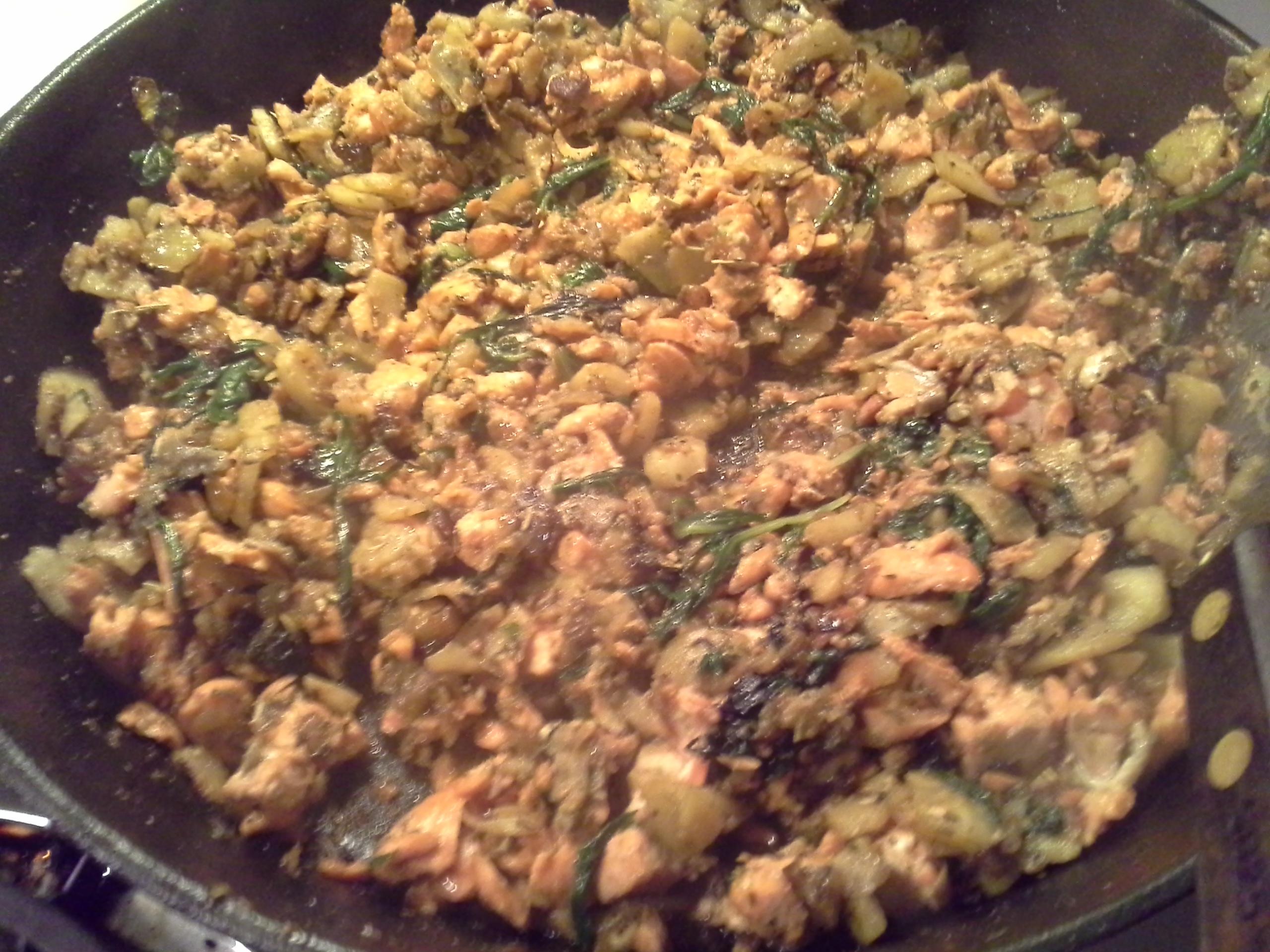 Dinner: 10:15 p.m.   8 oz. salmon, 1/2 celeriac root, greens mix, 2 Tbsp. coconut oil, herbs & spices