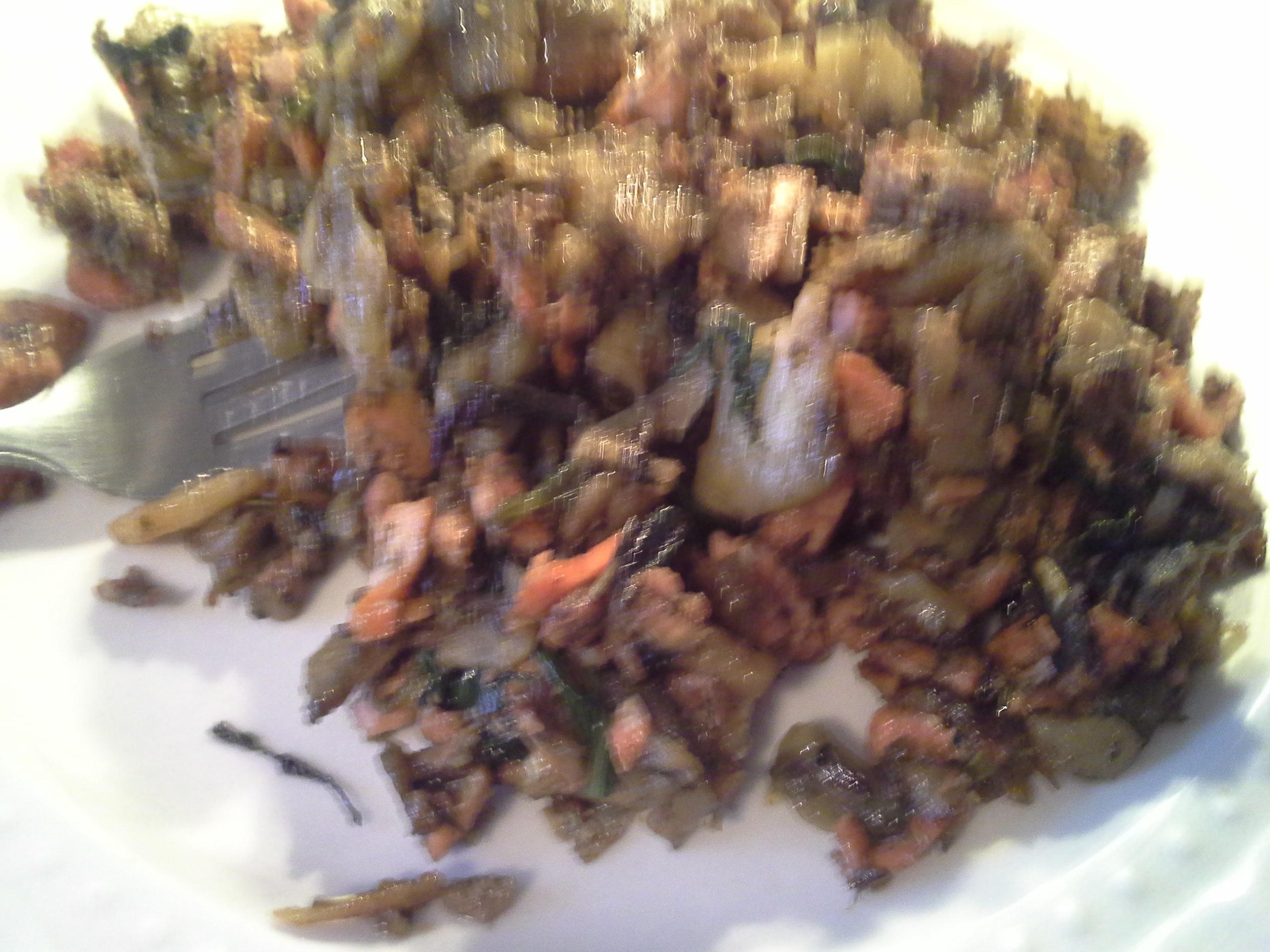 Breakfast: 11:35 a.m.   8 oz. salmon, 1/2 celeriac root, greens mix, 2 Tbsp. coconut oil, herbs & spices