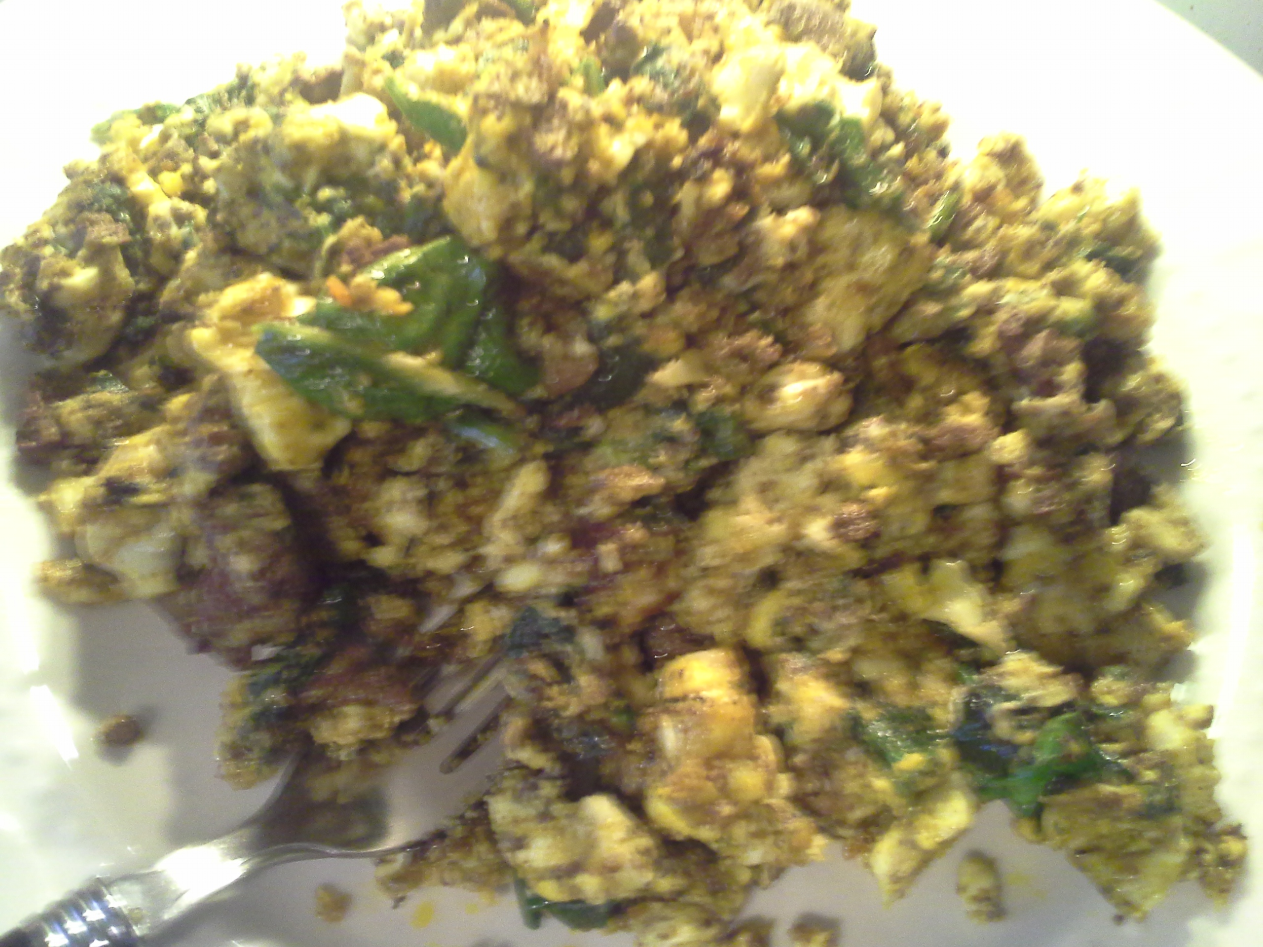 Lunch: 4:55 p.m. | 2 chicken livers, 4 eggs, greens mix, 2 Tbsp. red palm oil, herbs & spices