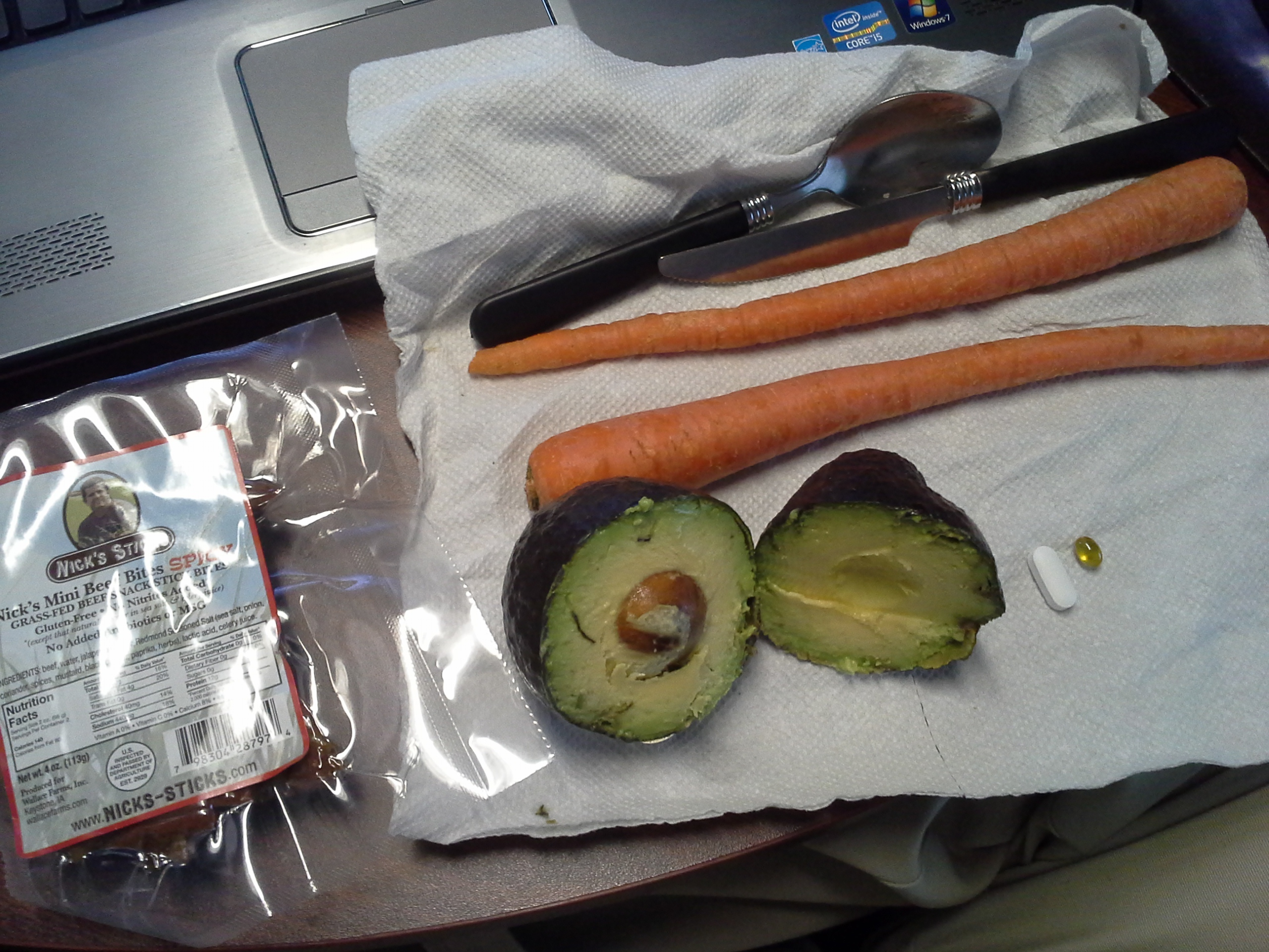 Lunch: 5:10 p.m. | 4 oz. beef sticks, 1 avocado, 2 carrots, 5,000 IU Vitamin D capsule, Calcium/Magnesium/Zinc caplet