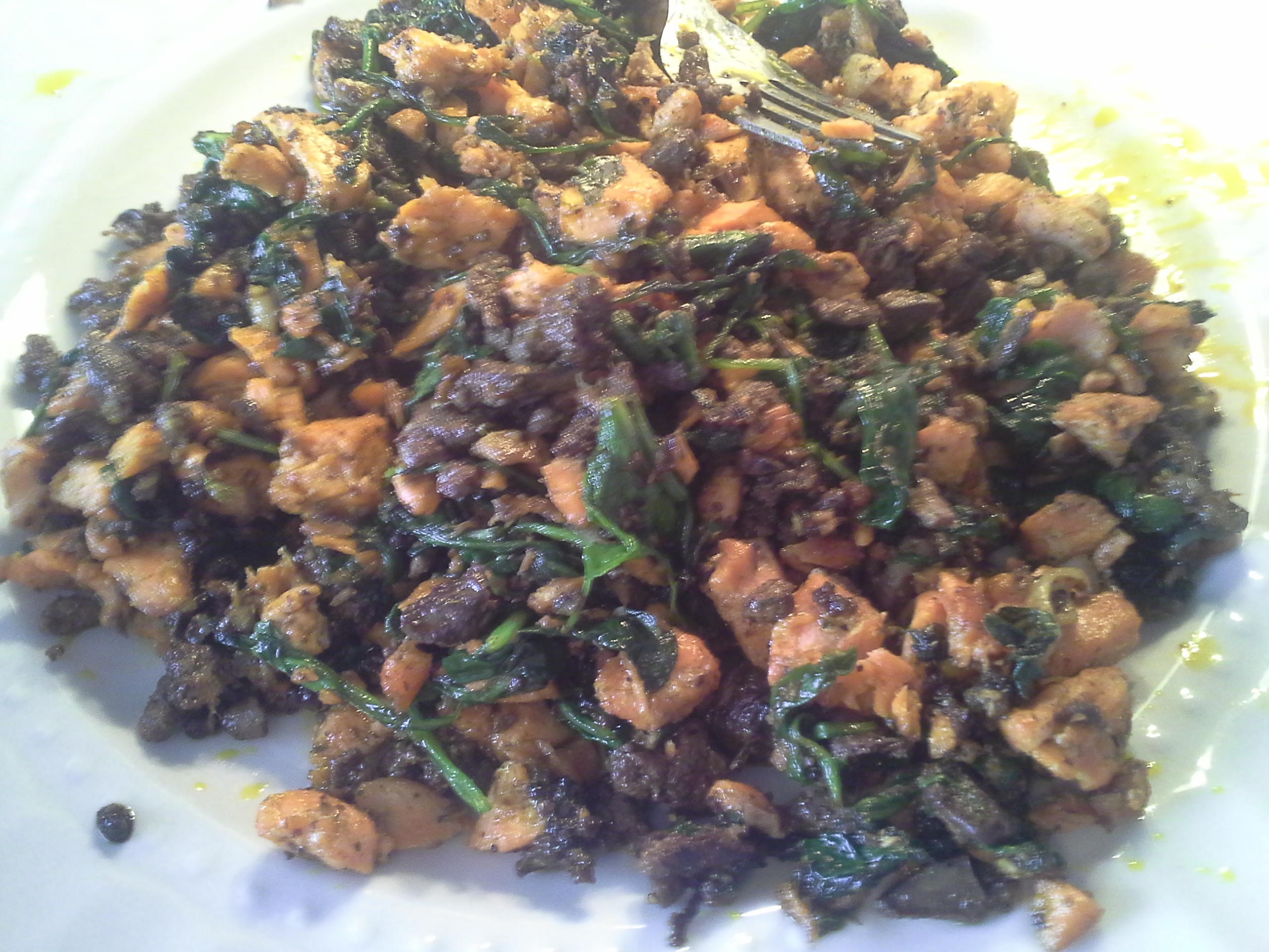 Breakfast: 1:05 p.m. | 8 oz. salmon, 2 chicken livers, greens mix, 2 Tbsp. red palm oil, herbs & spices