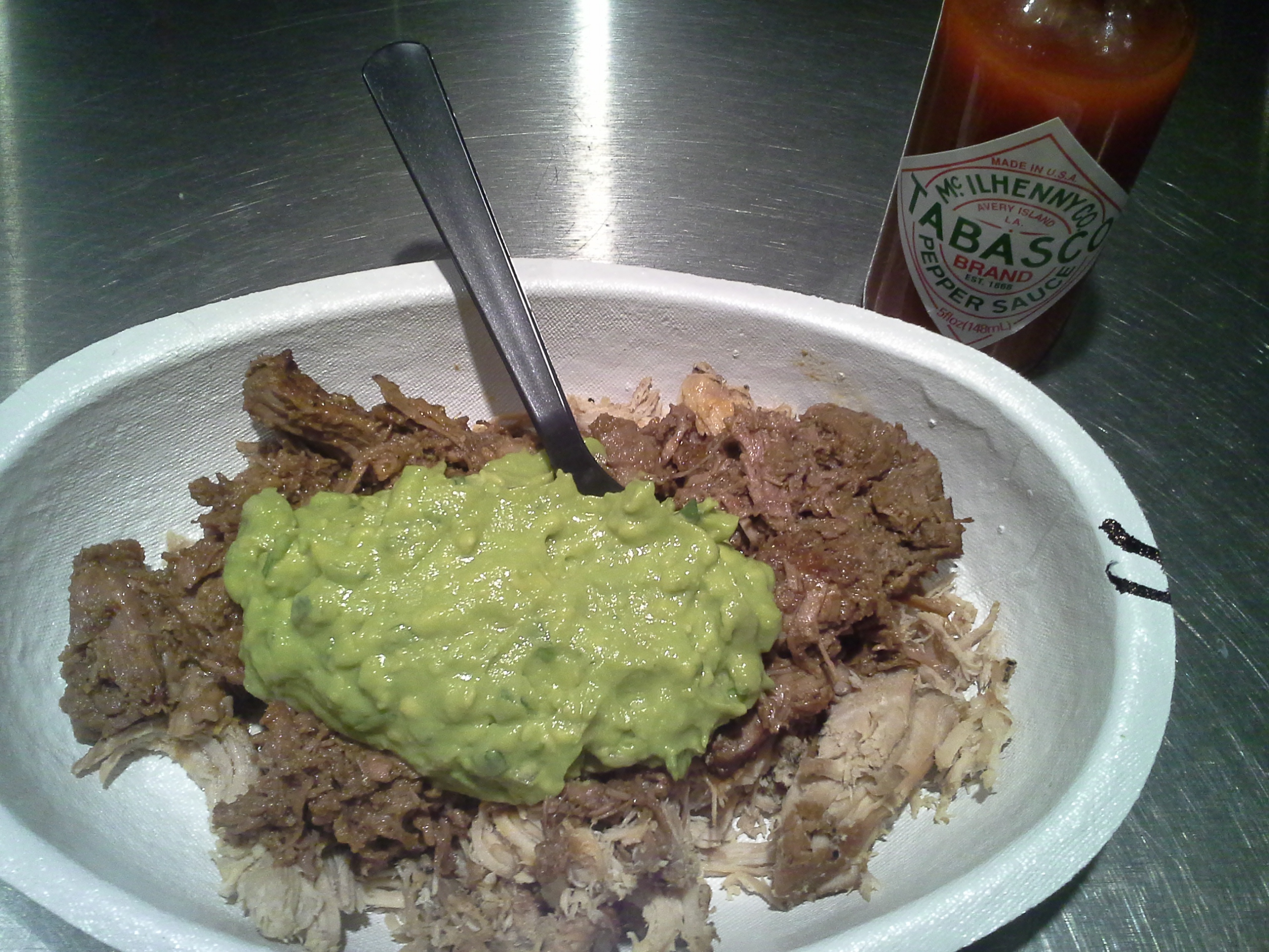 Dinner: 8:00 p.m. | Barbacoa, carnitas, guacamole, Tabasco from Chipotle