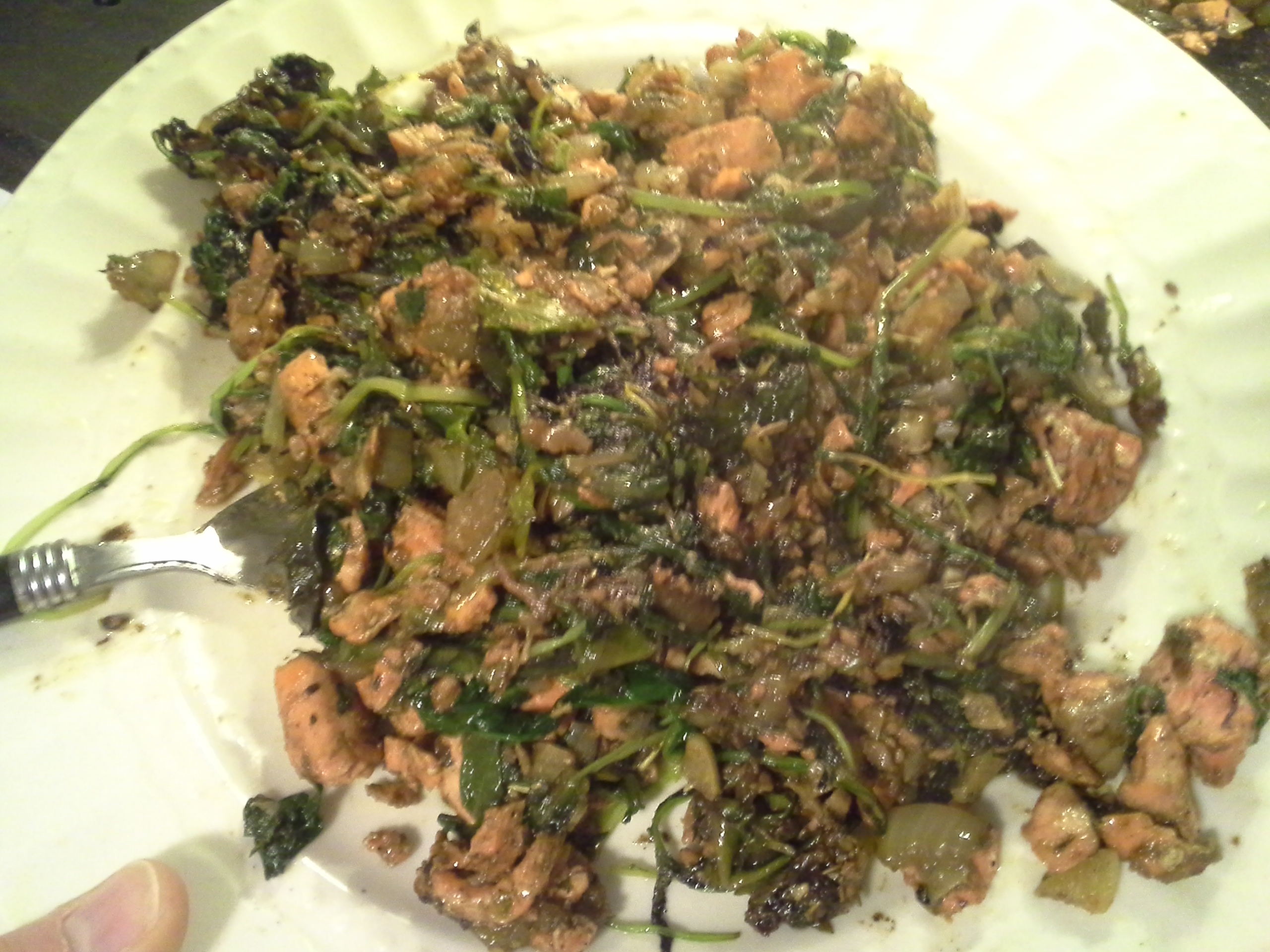 Breakfast: 11:15 a.m. | 8 oz. salmon, greens mix, 1/2 sweet onion, 4 cloves garlic, 2 Tbsp. coconut oil, herbs & spices