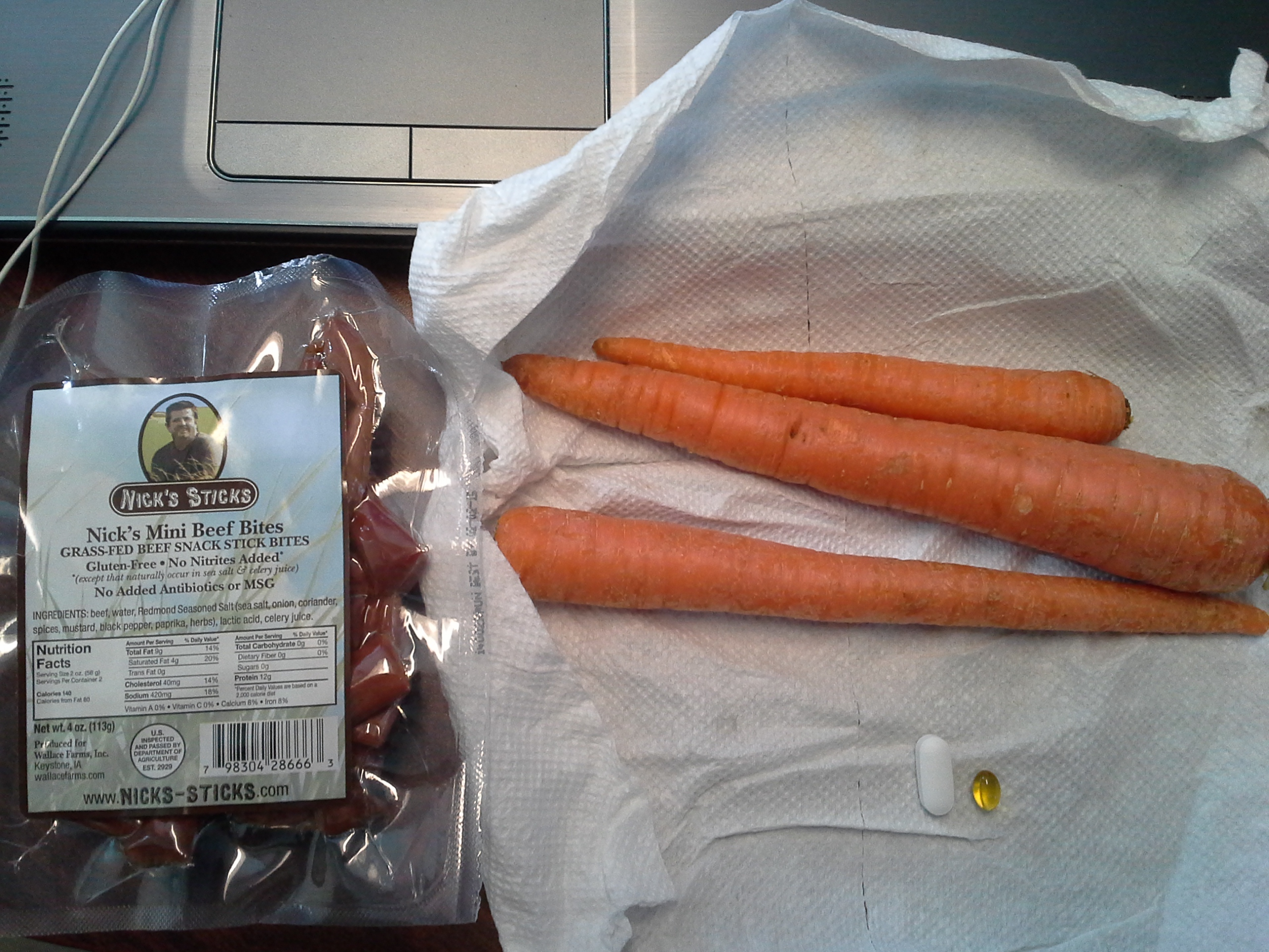 Lunch: 3:50 p.m. | 4 oz. beef sticks, 3 carrots, 5,000 IU Vitamin D capsule, Calcium/Magnesium/Zinc caplet