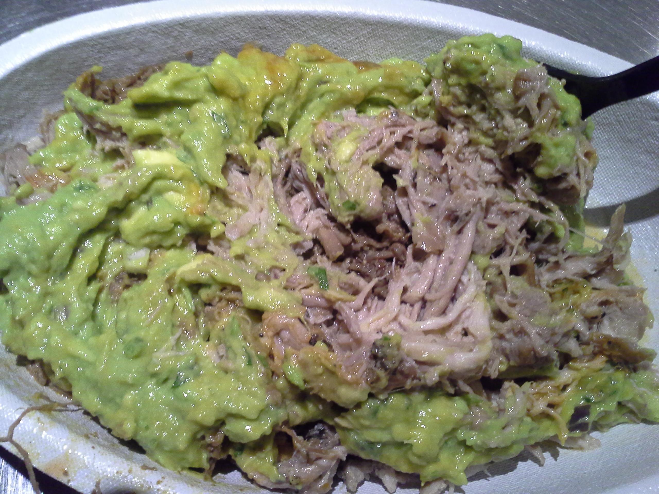Dinner: 8:25 p.m.   Barbacoa, carnitas, guacamole, Tabasco from Chipotle